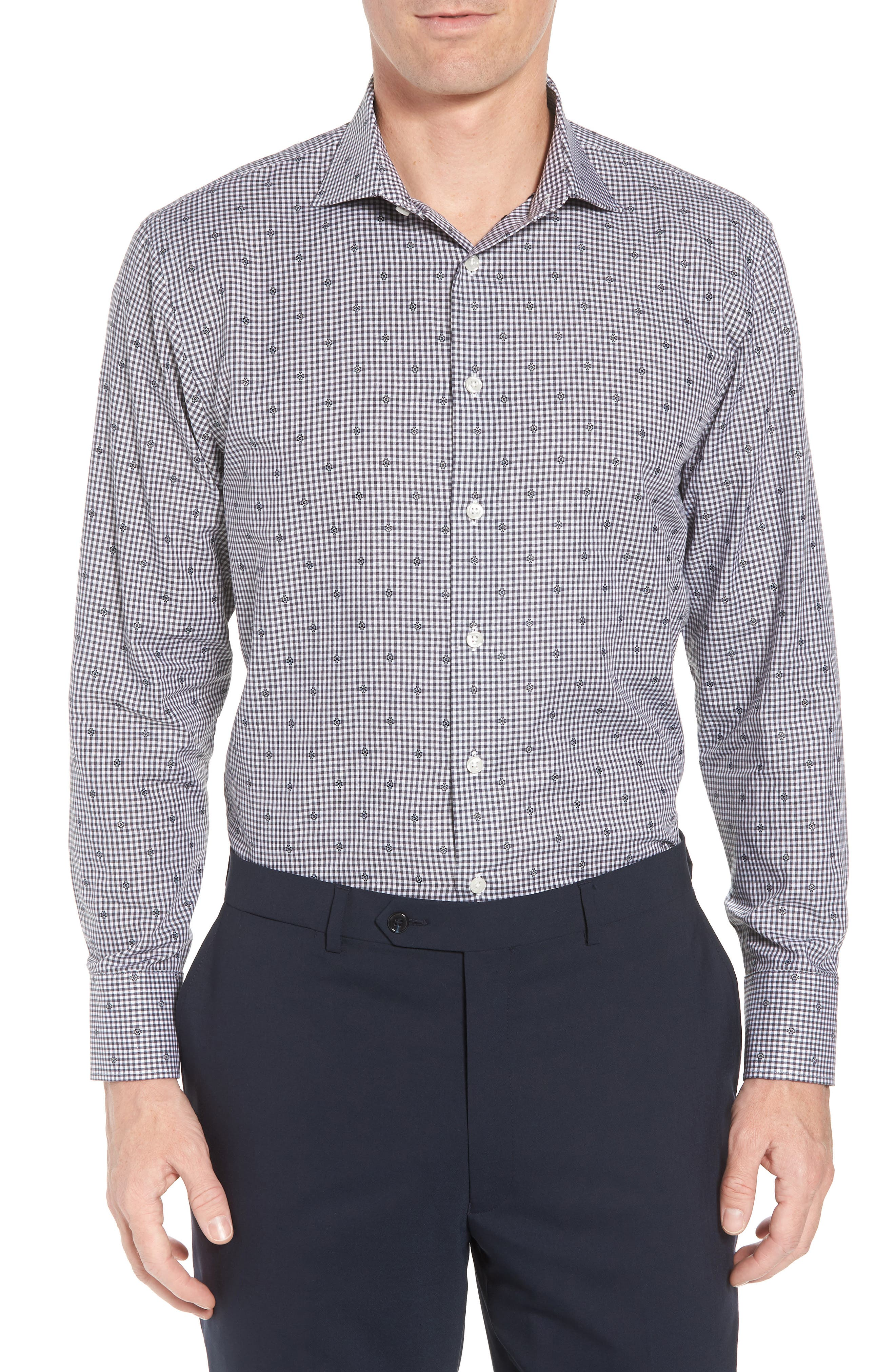Traditional Fit Check Dress Shirt,                         Main,                         color, Grey Onyx