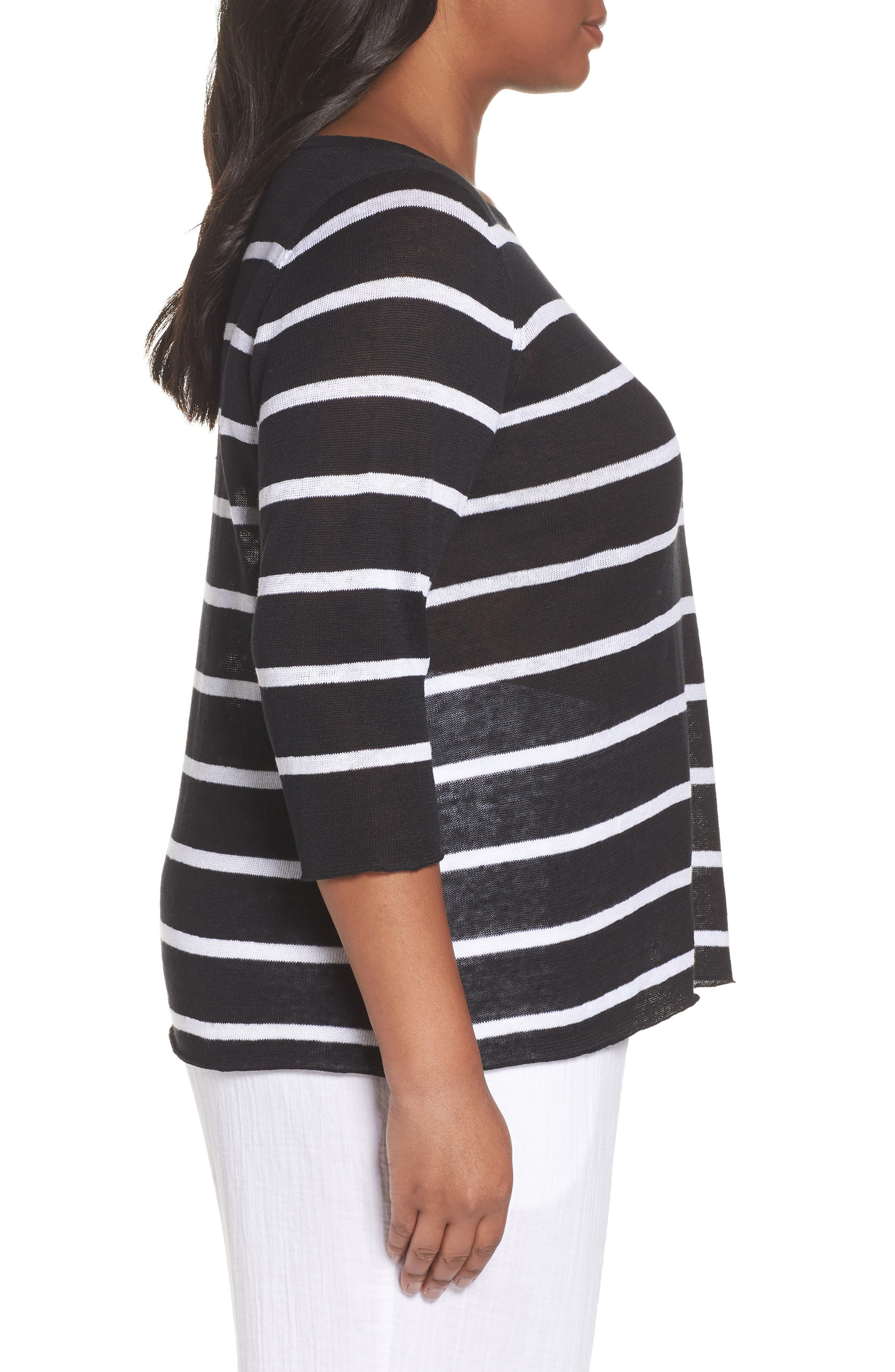 Bateau Neck Stripe Linen Top,                             Alternate thumbnail 3, color,                             Black/ White