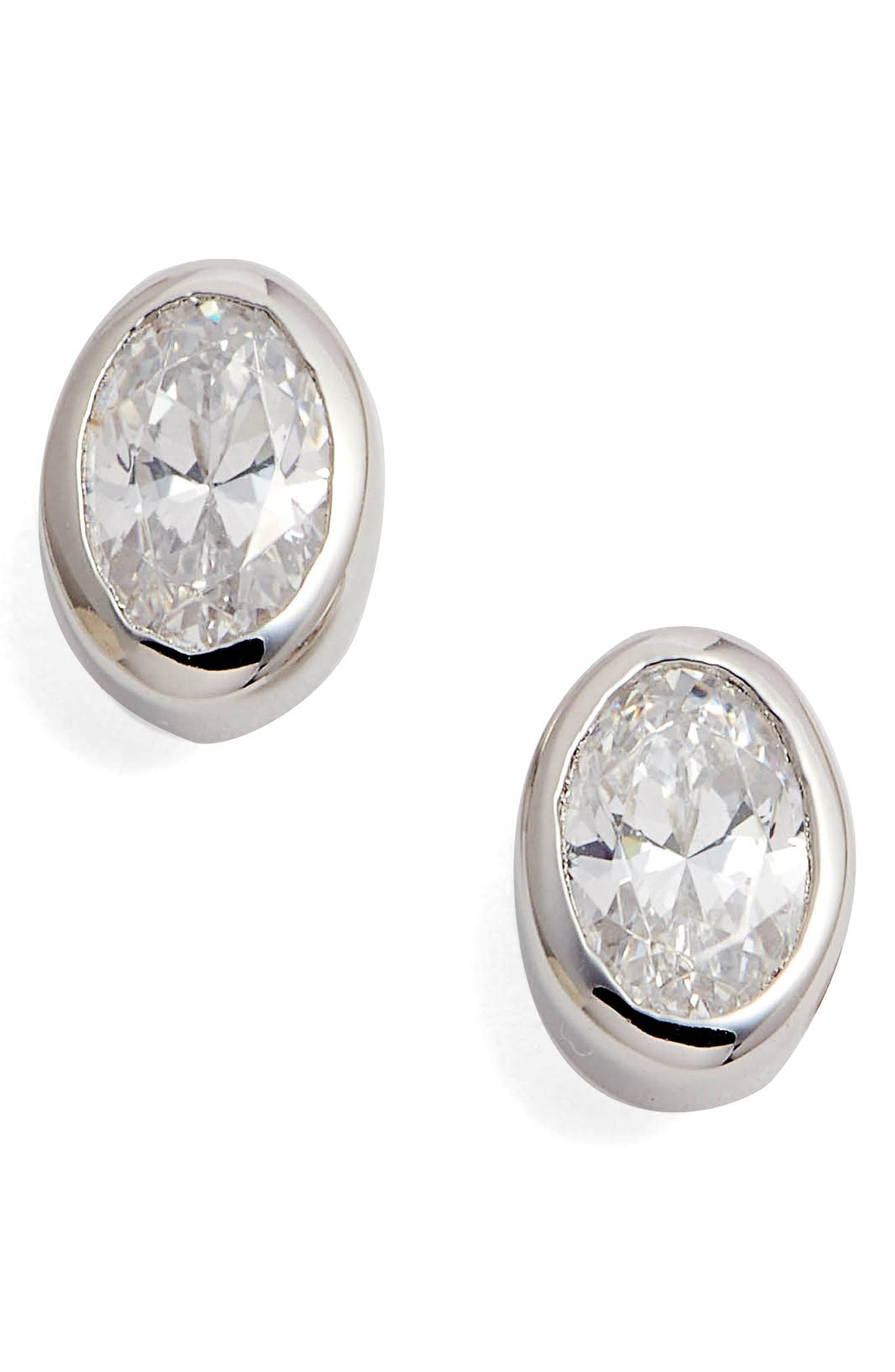 Bezel Set Oval Stud Earrings,                         Main,                         color, Silver/ Clear
