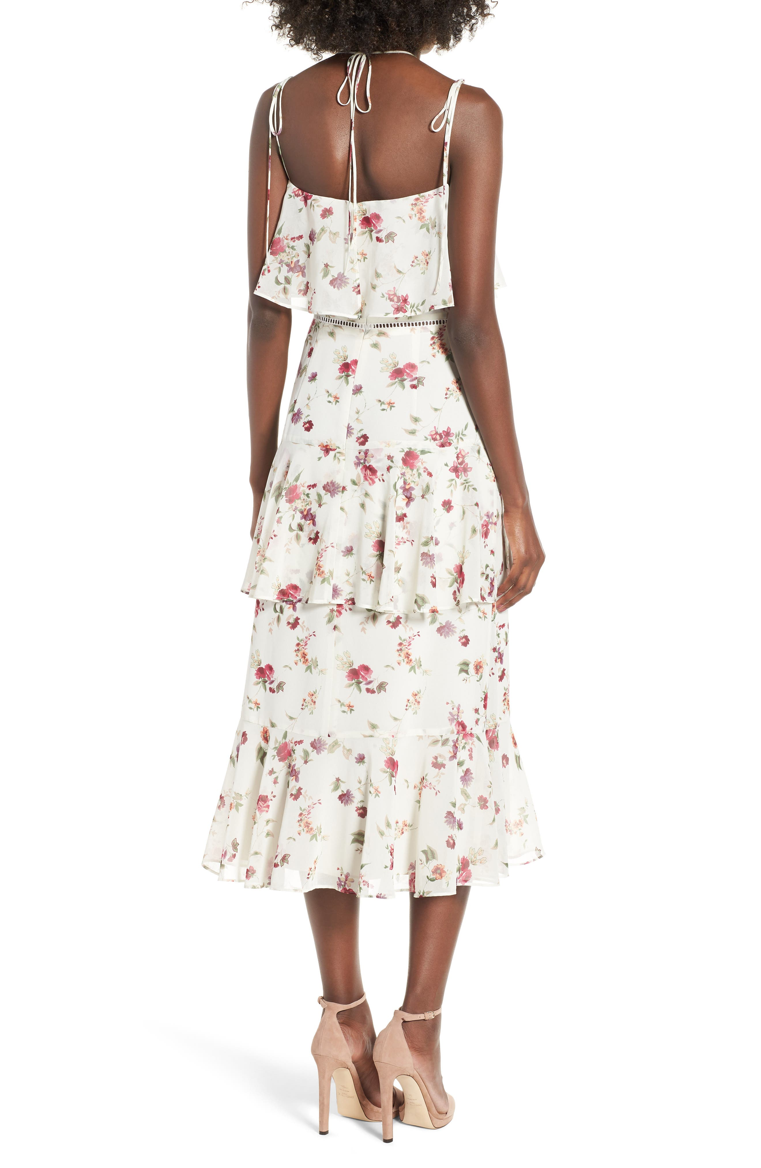 Imola Tiered Midi Dress,                             Alternate thumbnail 2, color,                             Ivory Floral
