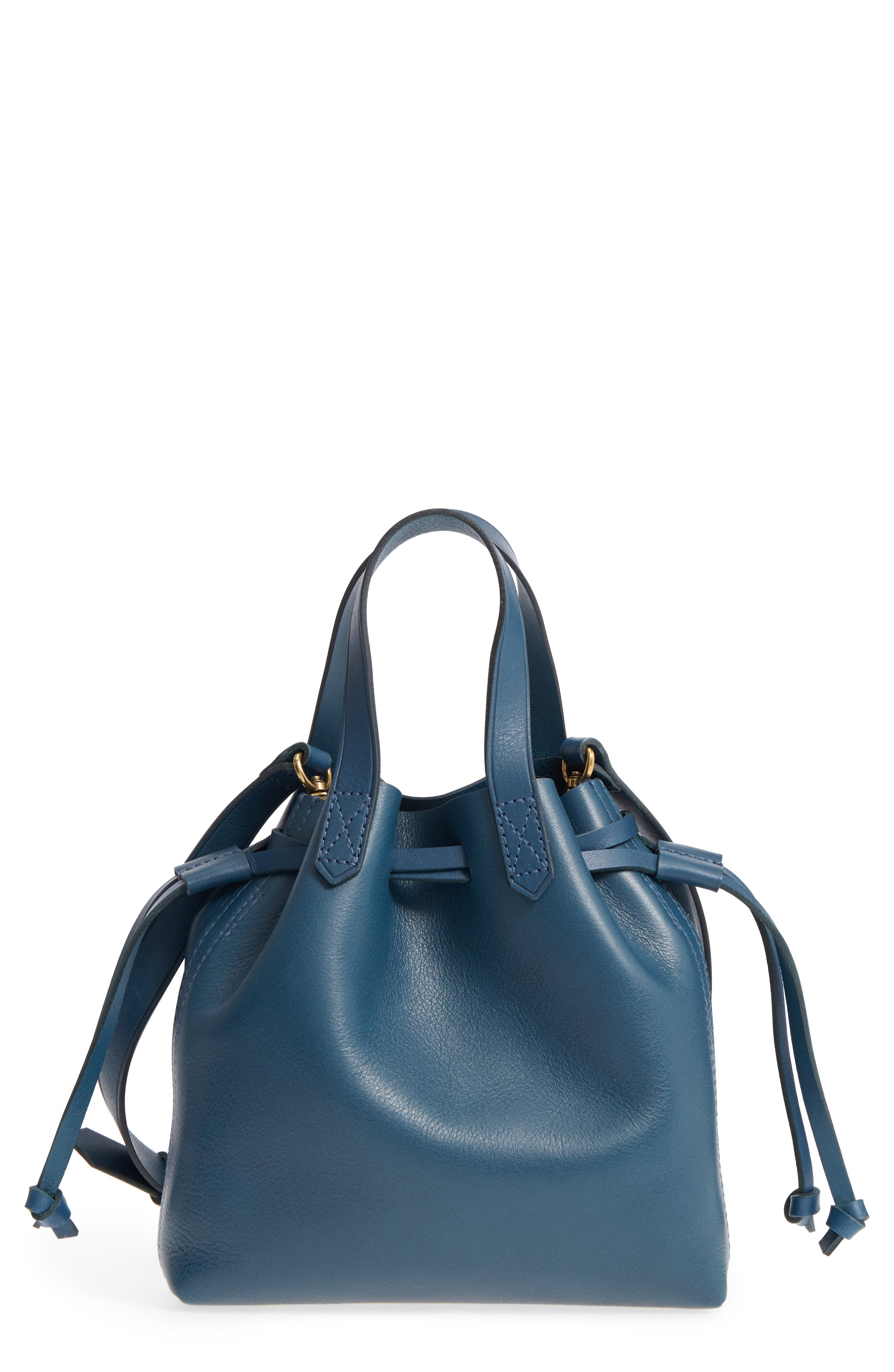 The Mini Pocket Transport Leather Drawstring Tote,                         Main,                         color, Blue Hematite