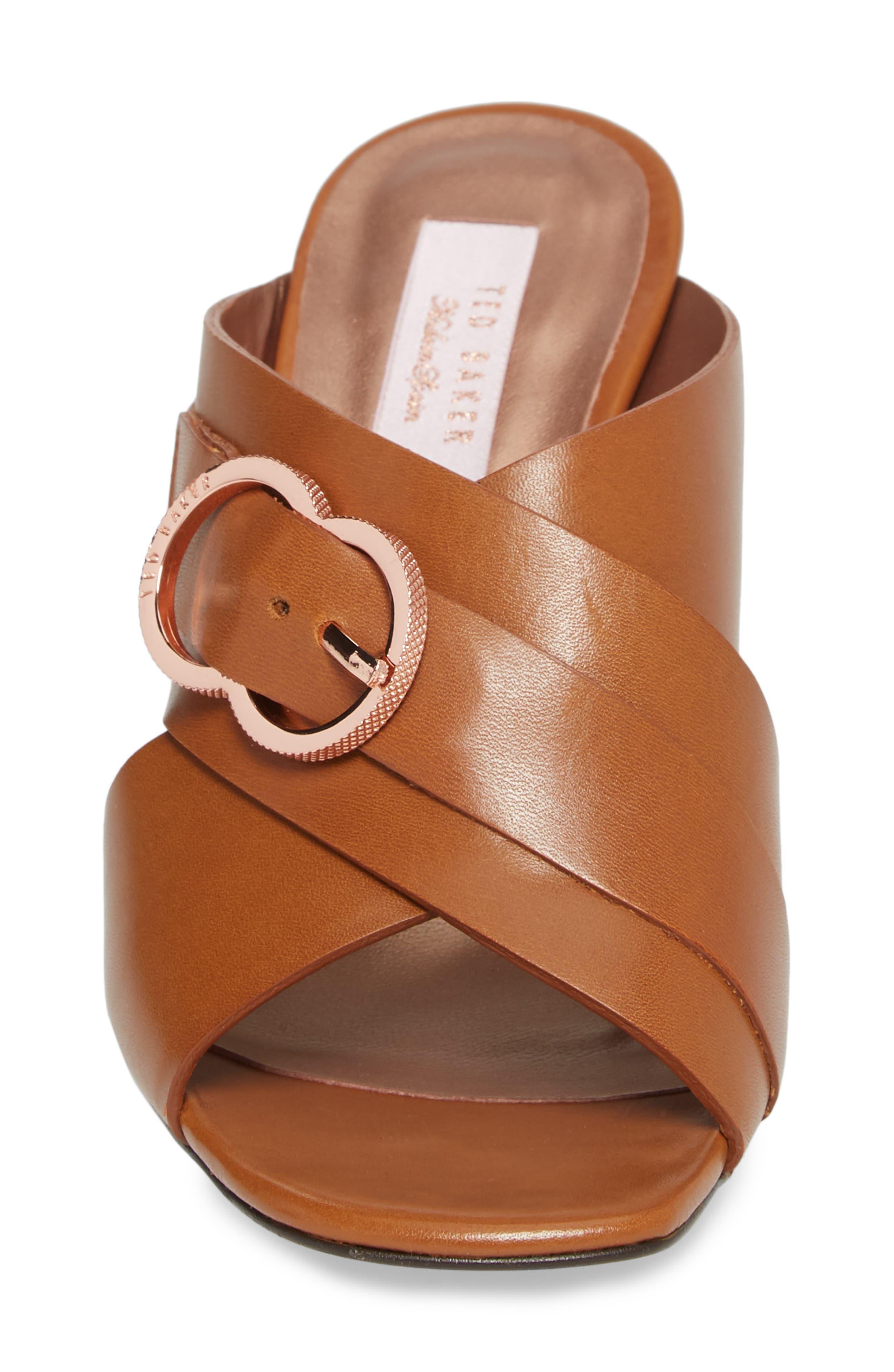 Maladas Slide Sandal,                             Alternate thumbnail 4, color,                             Tan Leather