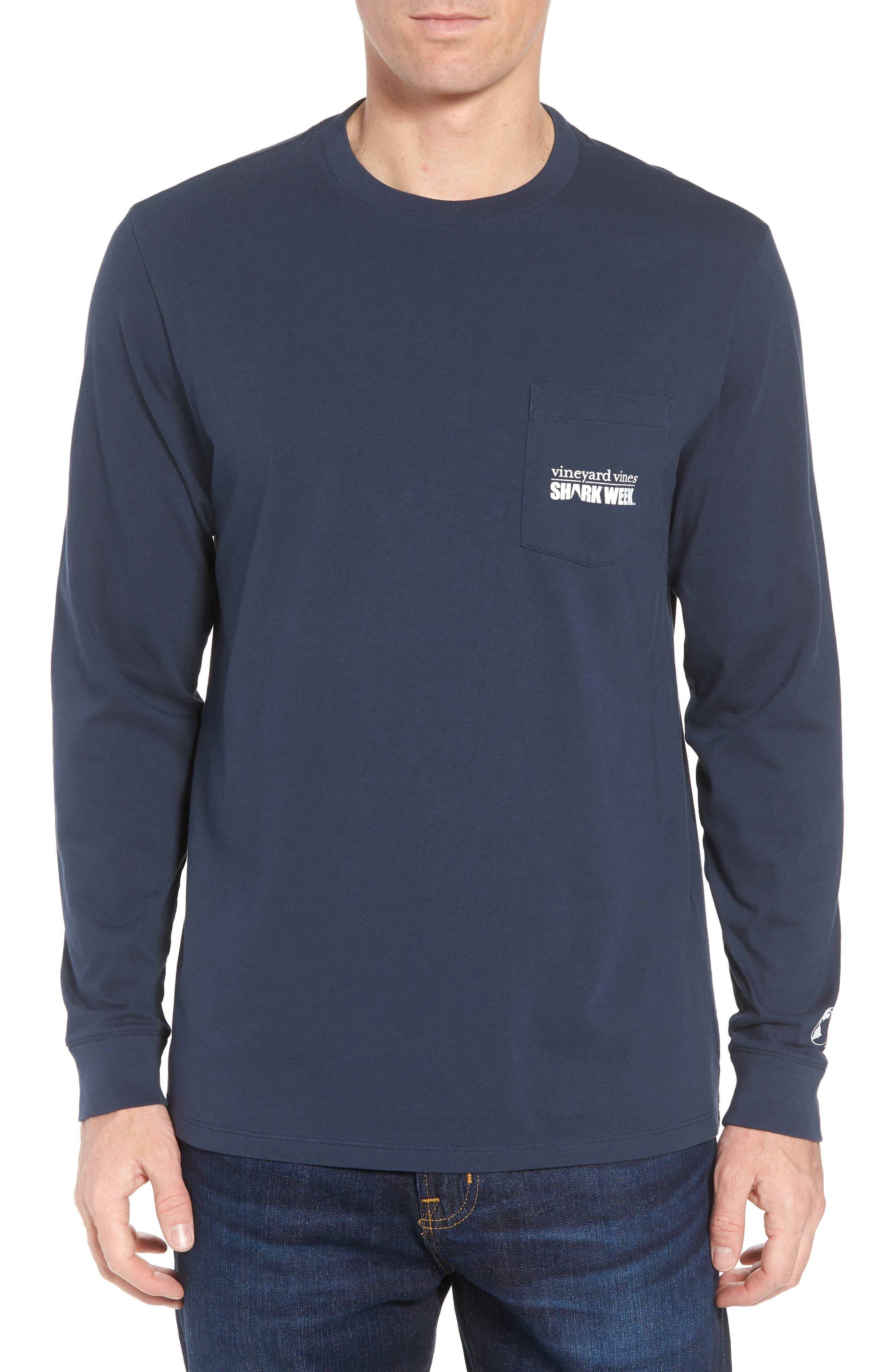 x Shark Week<sup>™</sup> Logo Long Sleeve Pocket T-Shirt,                             Main thumbnail 1, color,                             Vineyard Navy