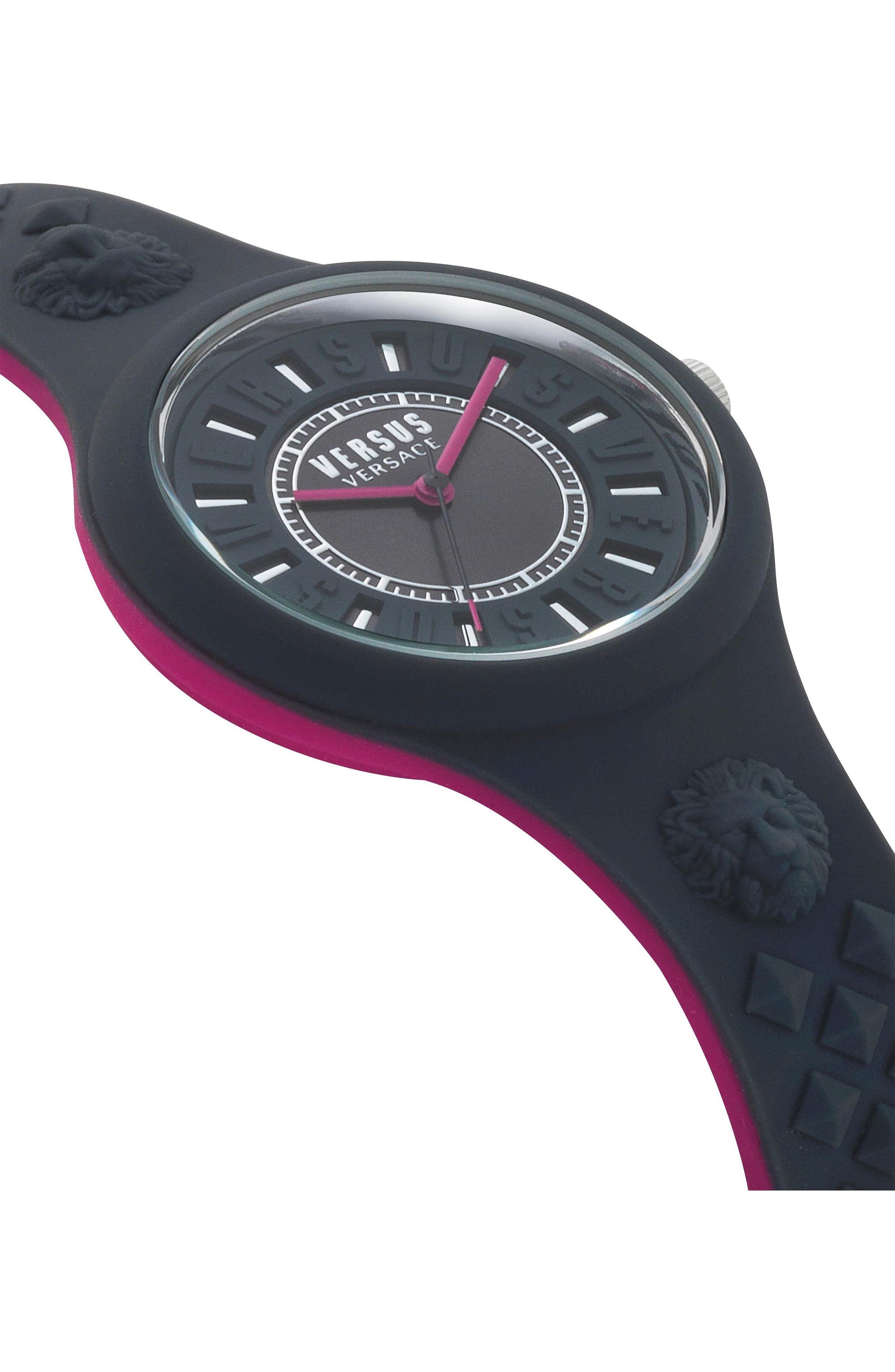 VERSUS by Versace Fire Island Silicone Strap Watch, 39mm,                             Alternate thumbnail 3, color,                             Grey/ Fuchsia