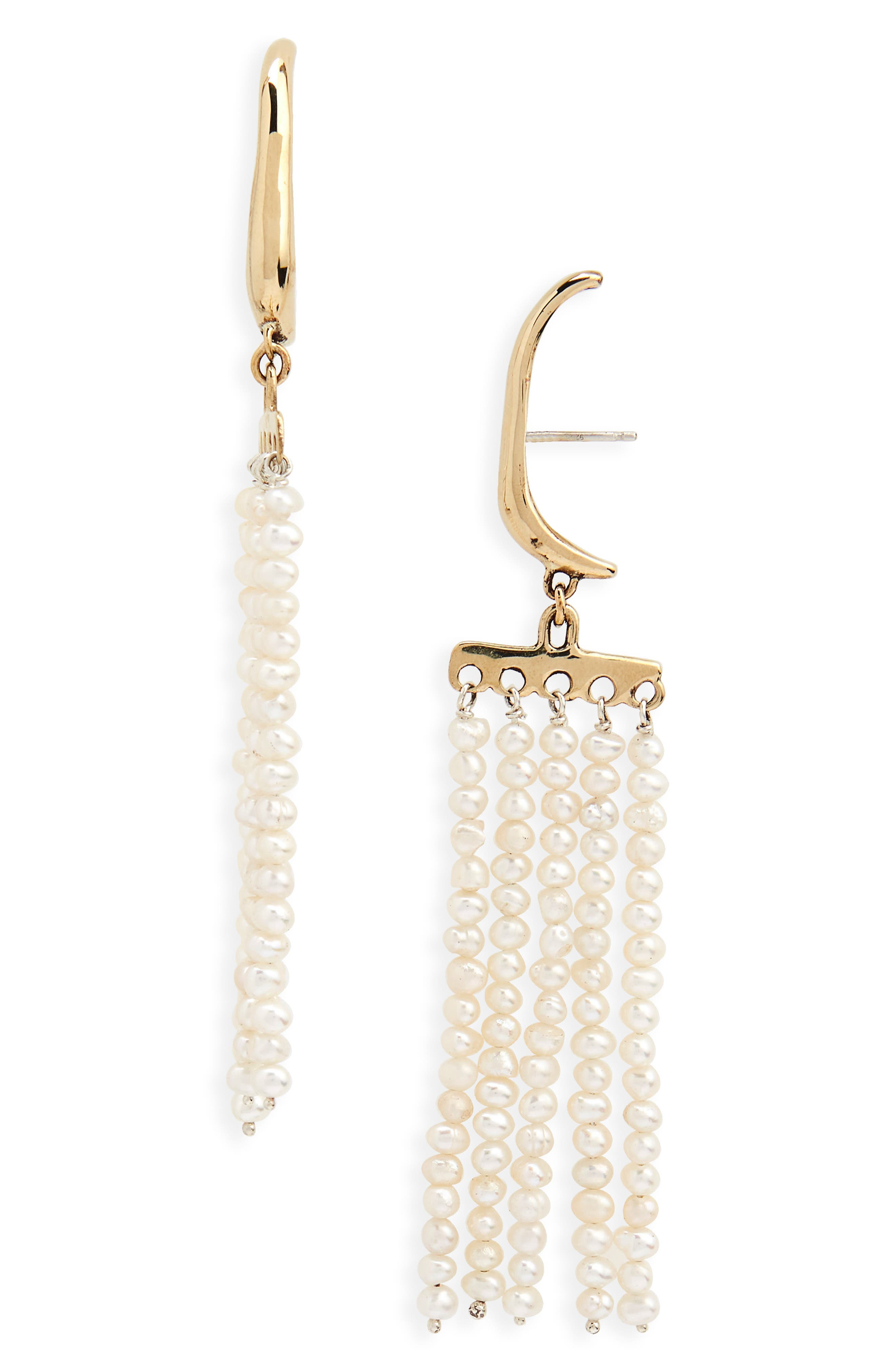 Swing Pearl Earrings,                         Main,                         color, Bronze
