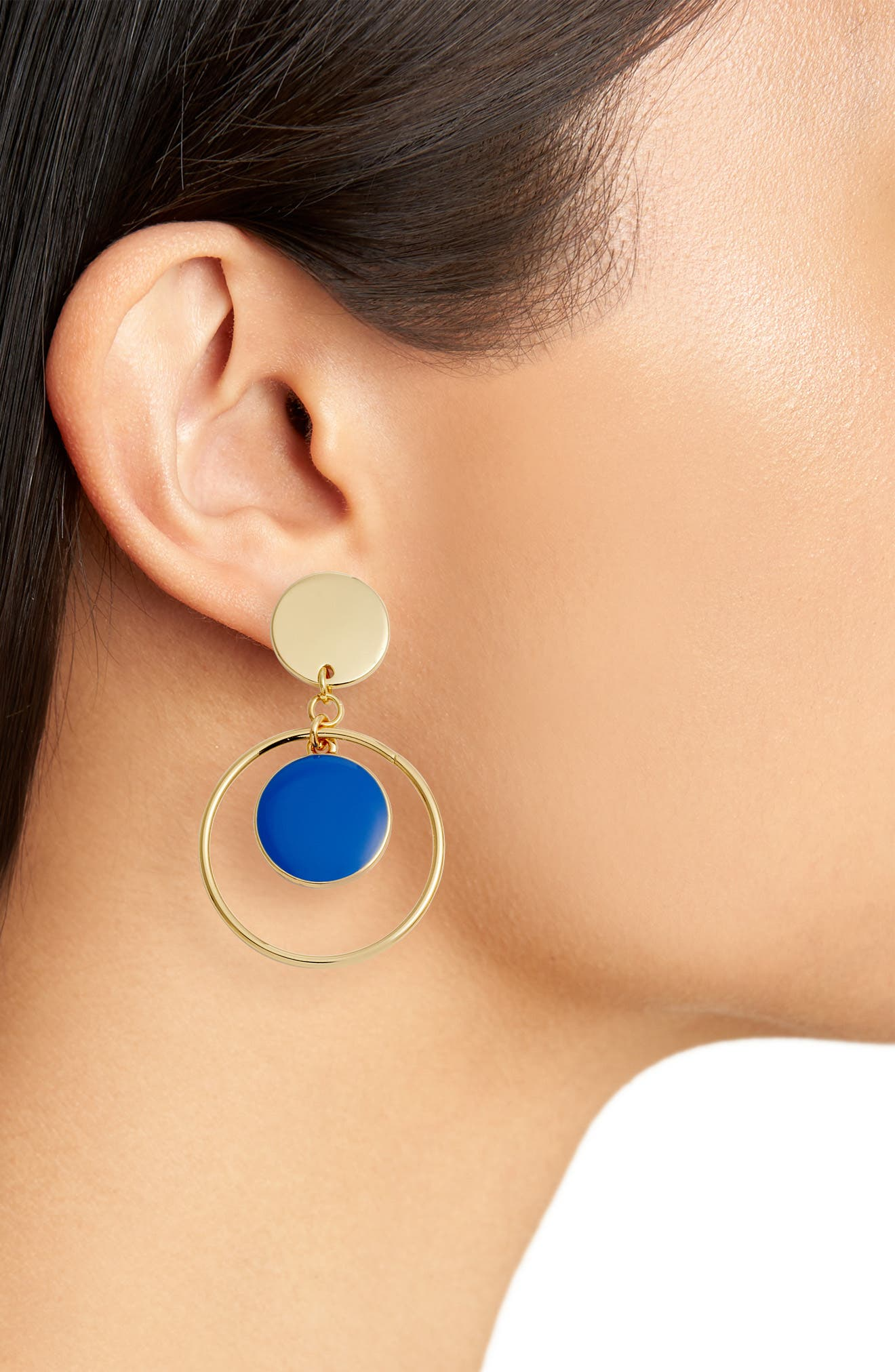 Double Disc with Hoop Drop Earrings,                             Alternate thumbnail 2, color,                             Blue- Gold