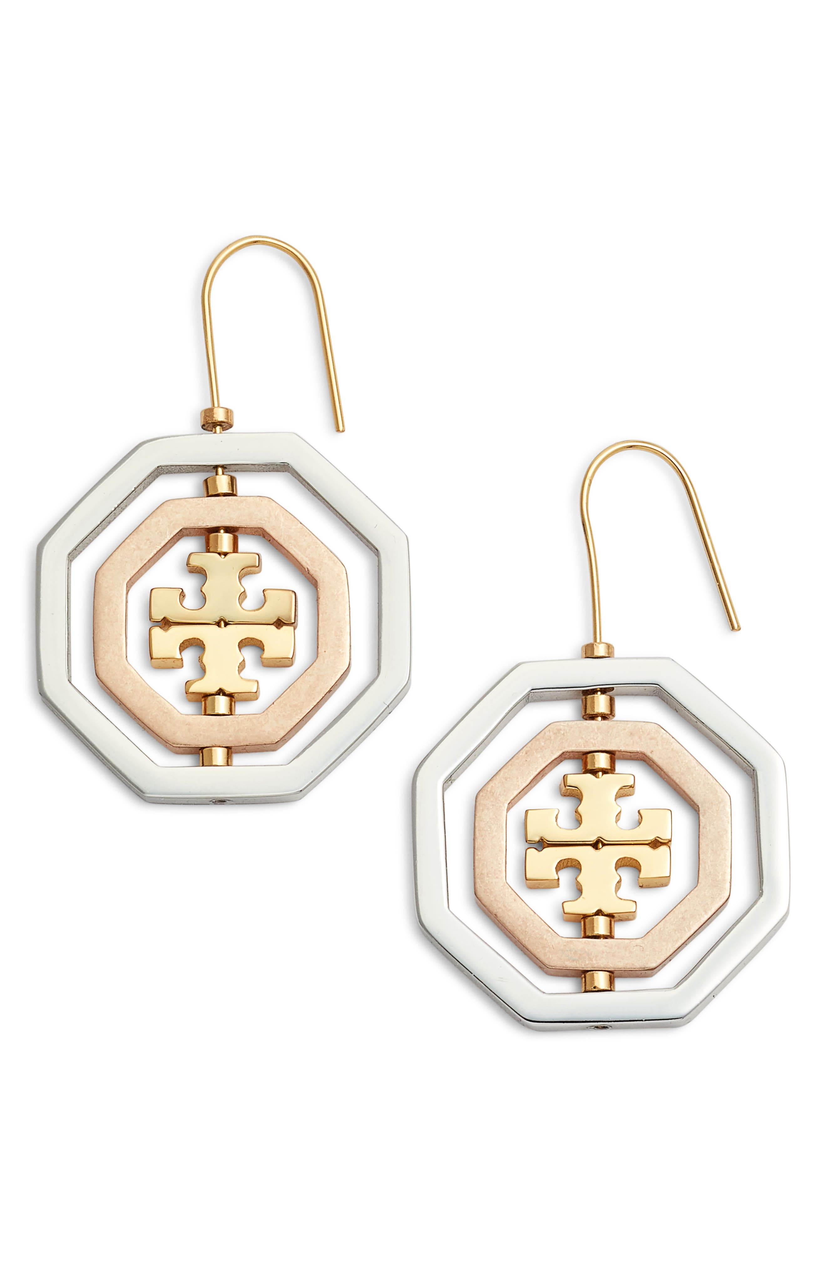 Logo Spinner Drop Earrings,                             Main thumbnail 1, color,                             Gold/ Silver/ Rose Gold