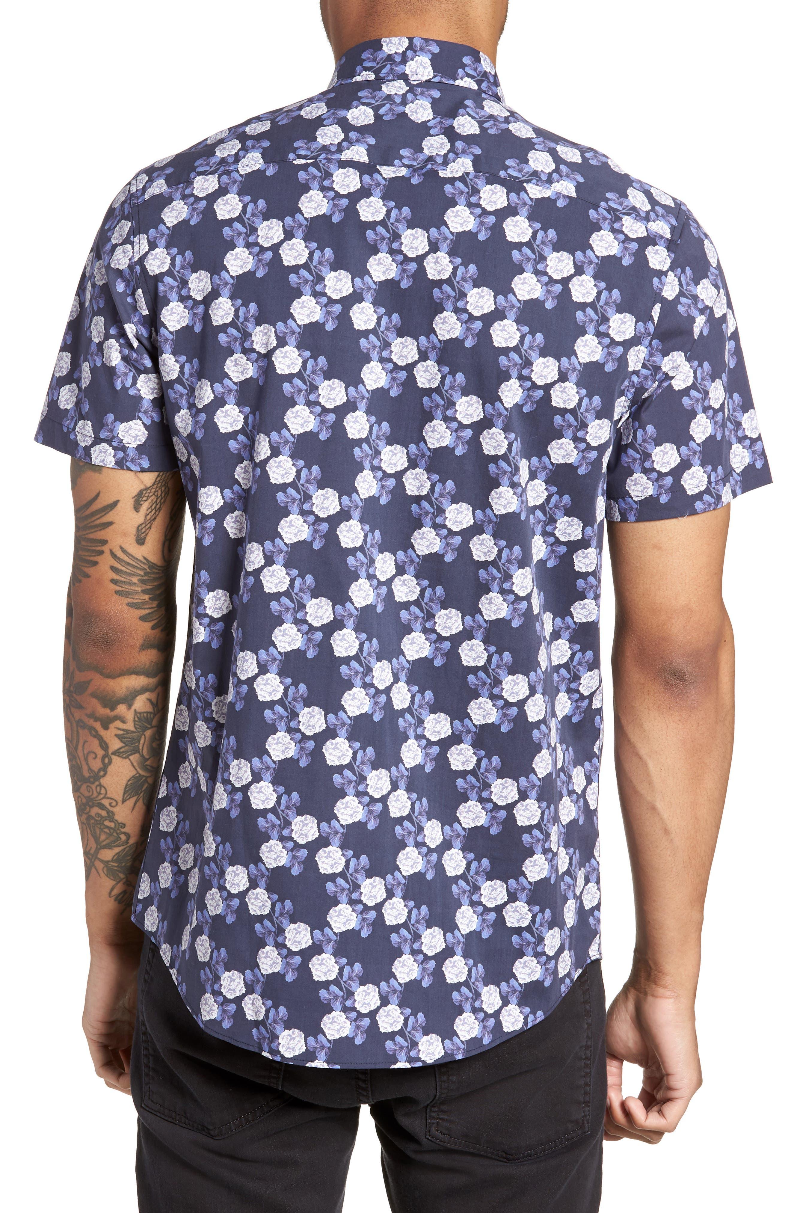 Trim Fit Short Sleeve Sport Shirt,                             Alternate thumbnail 3, color,                             Blue Flower Print