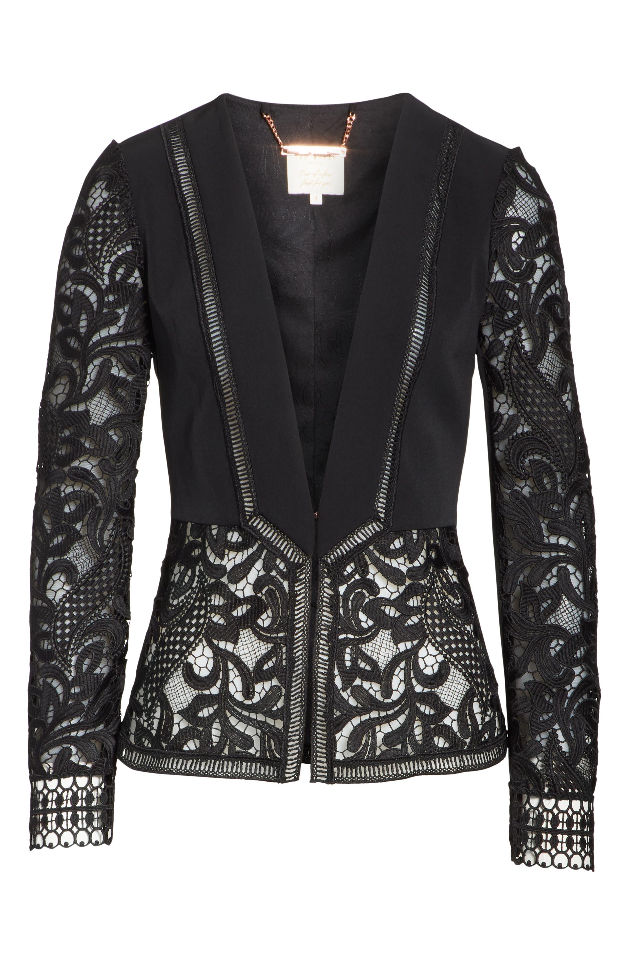 Liela Sheer Lace Panel Jacket,                             Alternate thumbnail 6, color,                             Black