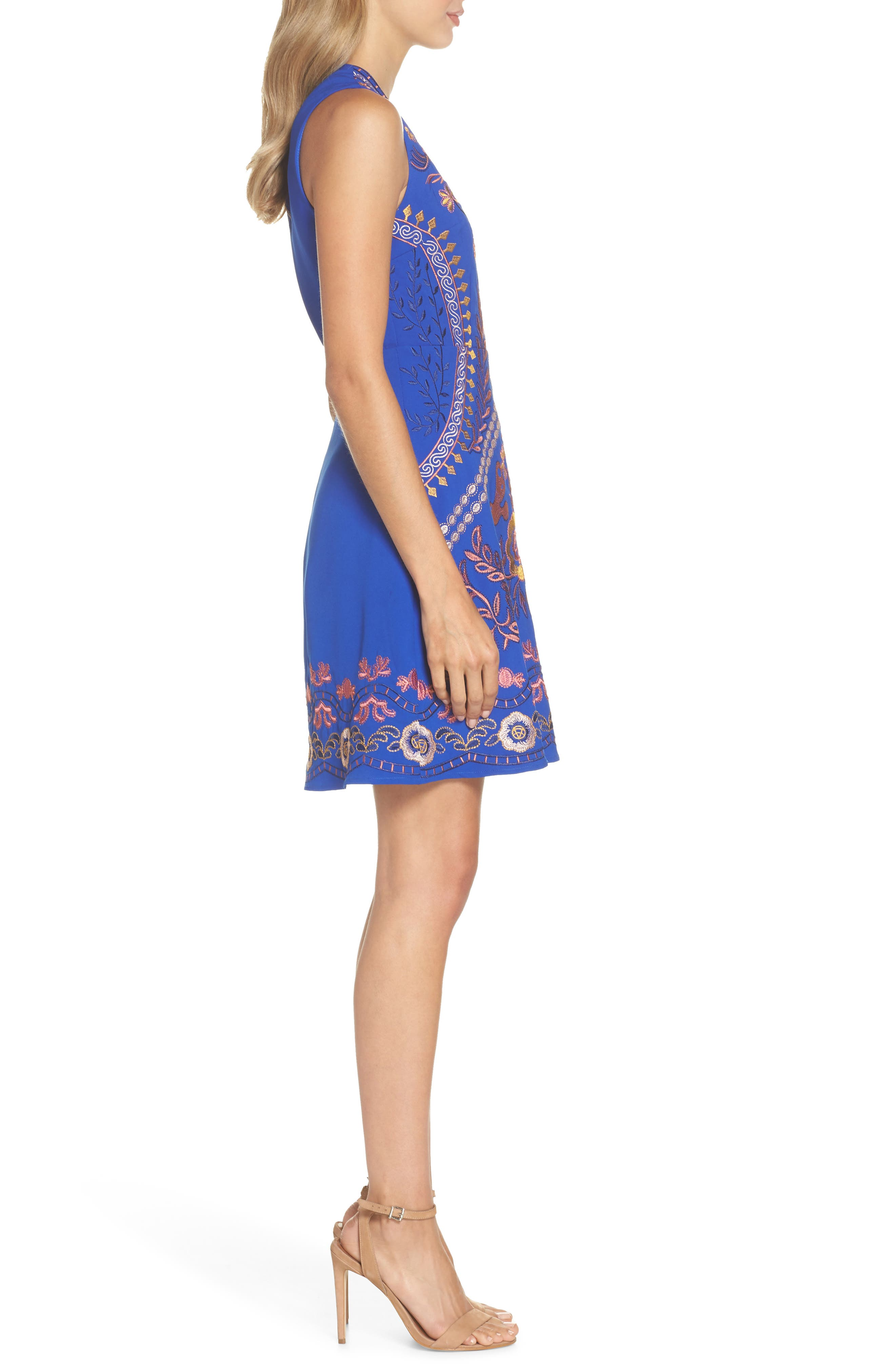 Artemesia Cutout Back Minidress,                             Alternate thumbnail 4, color,                             Navy Multi