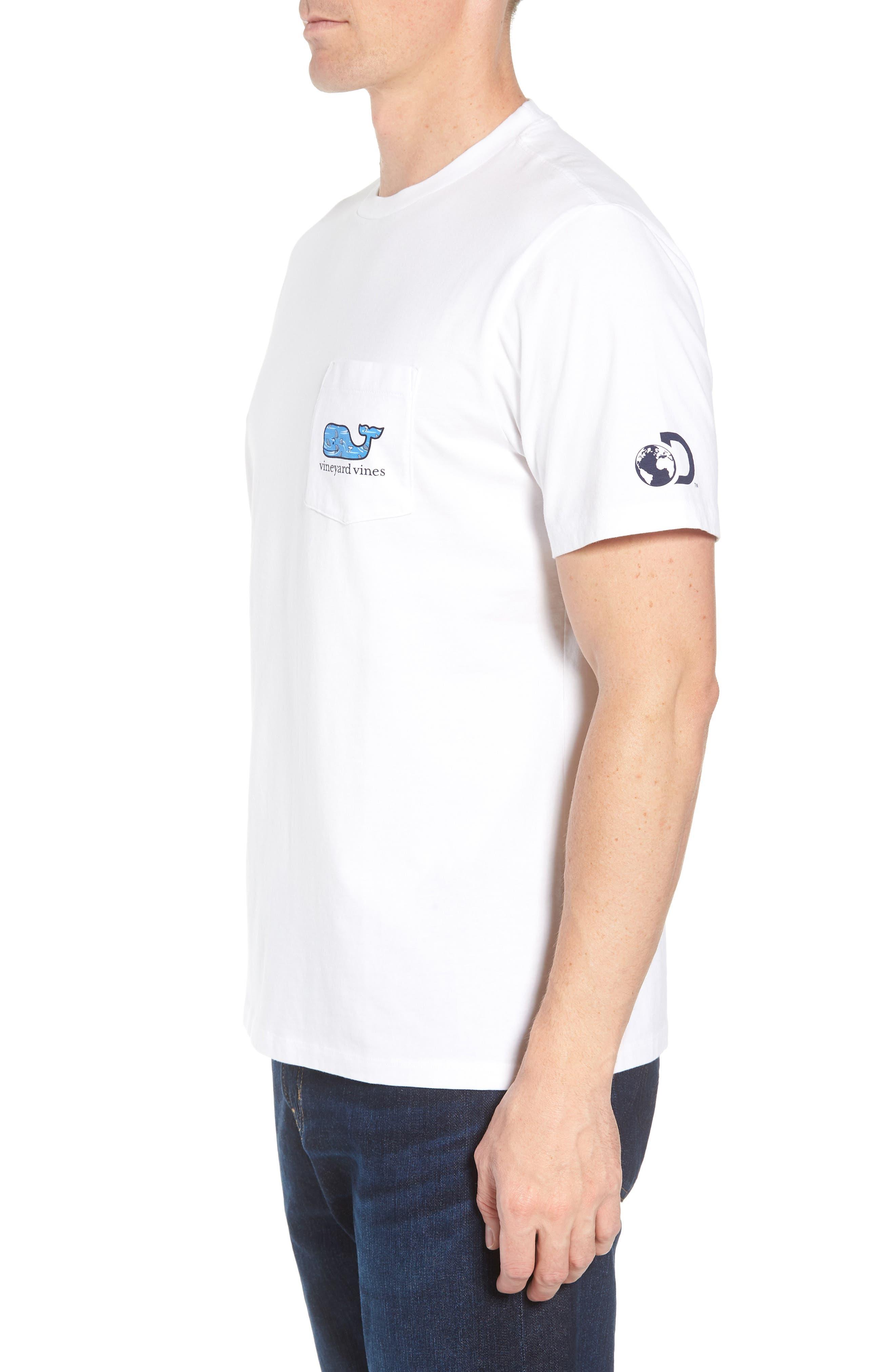 x Shark Week<sup>™</sup> Circling Sharks Pocket T-Shirt,                             Alternate thumbnail 3, color,                             White Cap