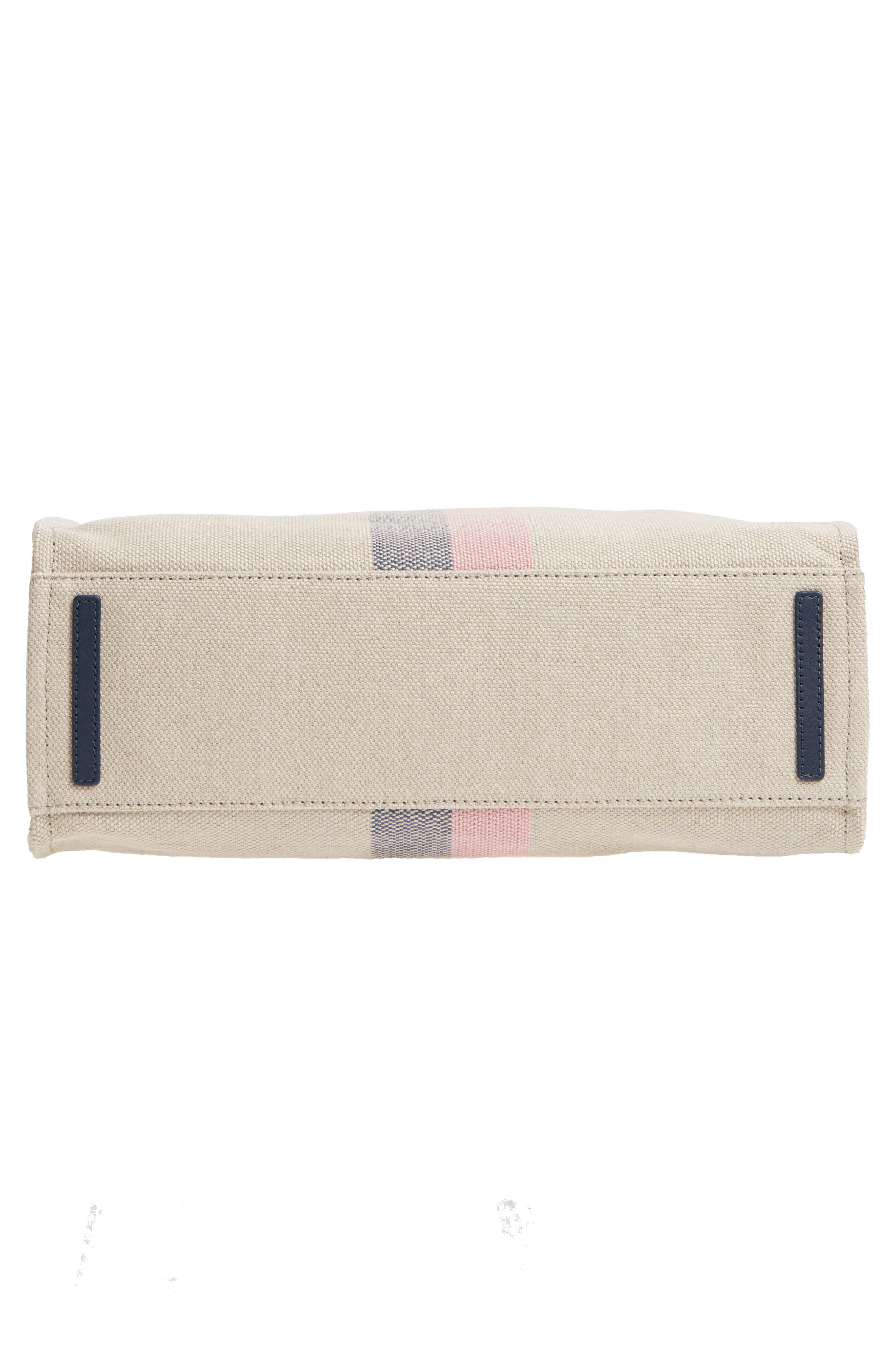 washington square - mega sam canvas satchel,                             Alternate thumbnail 6, color,                             Natural Linen/Bubble Gum/Navy