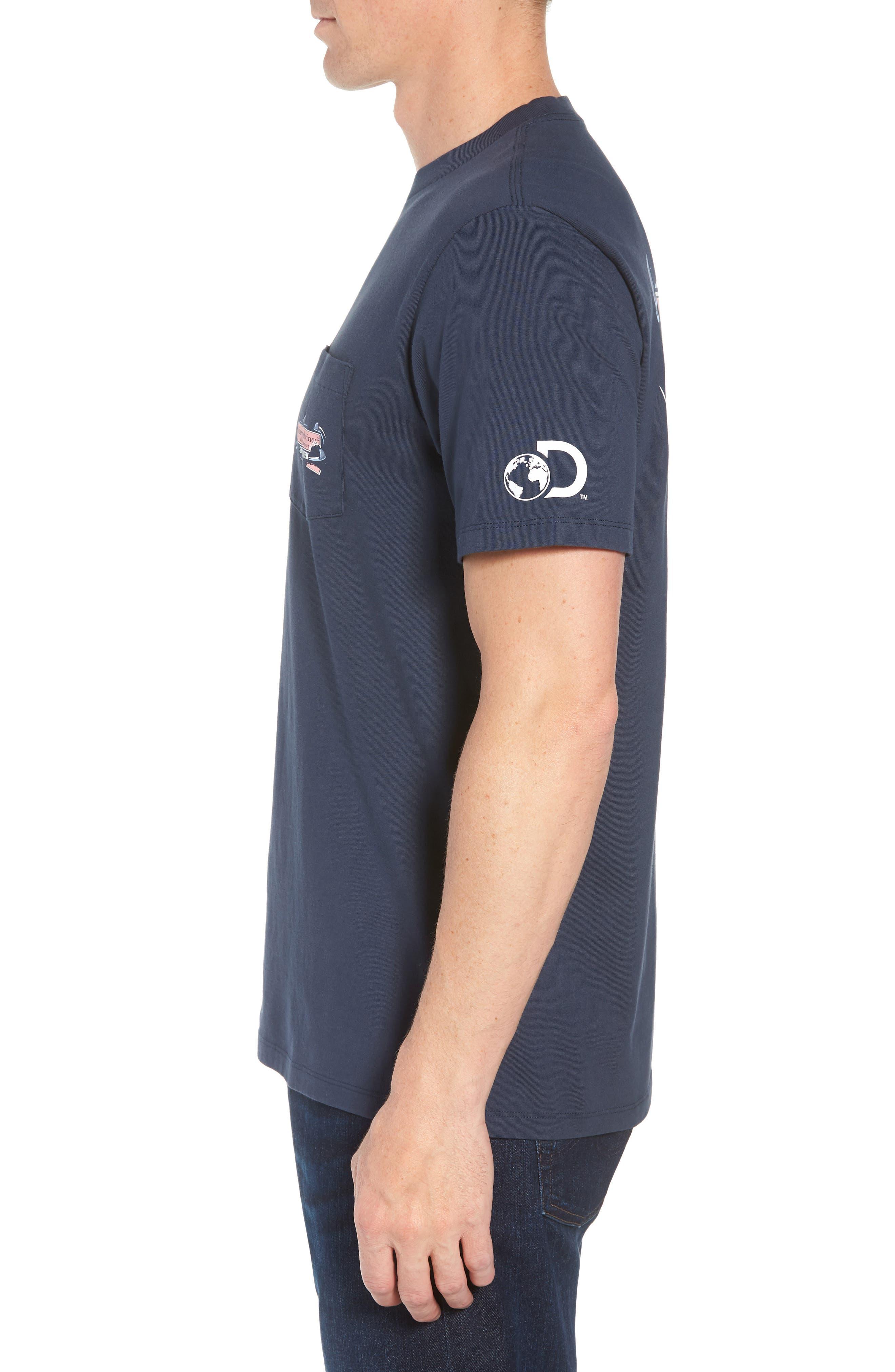 x Shark Week<sup>™</sup> Circling Sharks Pocket T-Shirt,                             Alternate thumbnail 3, color,                             Blue Blazer