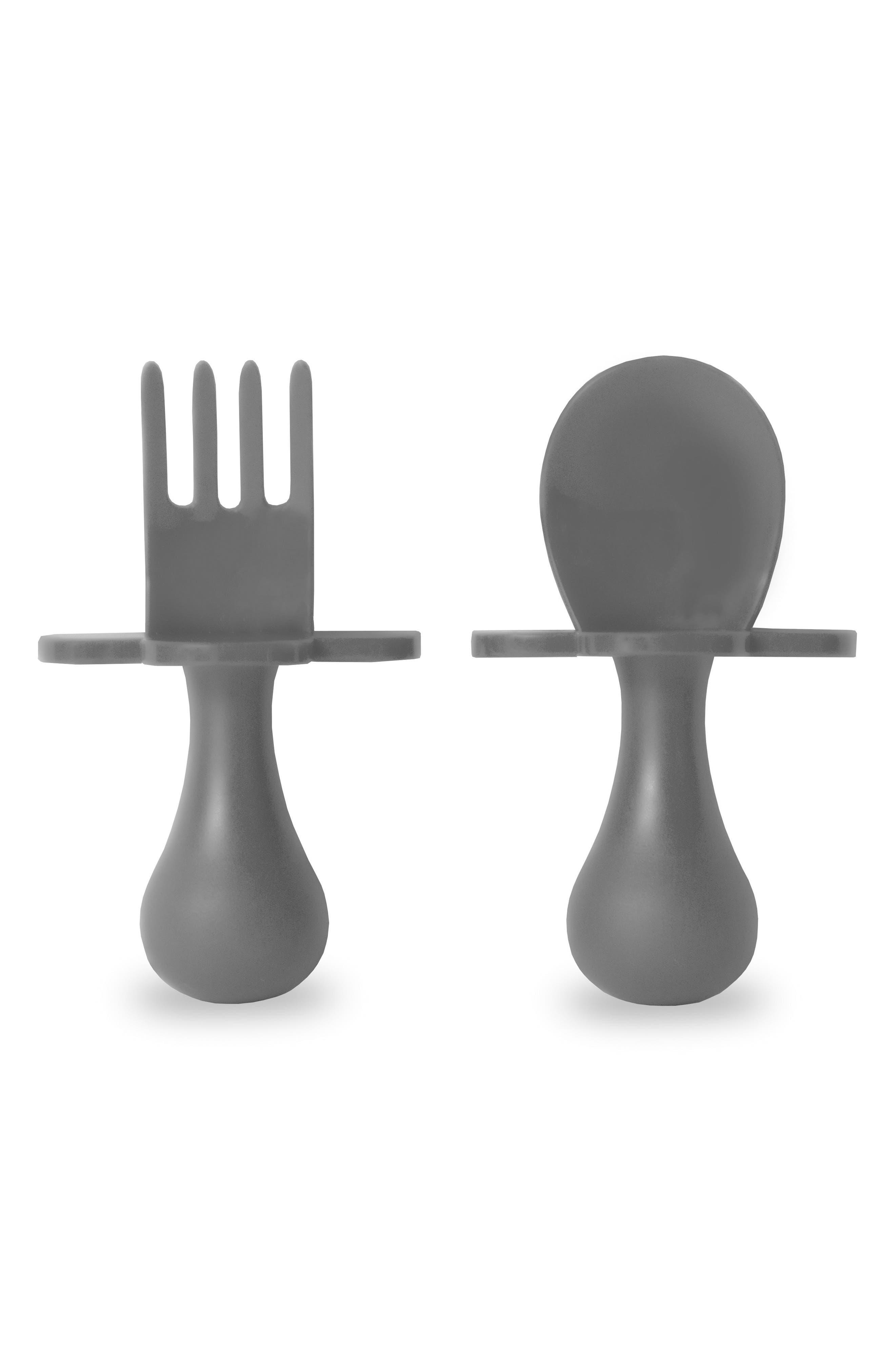 Self Feeding Fork & Spoon Set,                             Main thumbnail 1, color,                             Gray