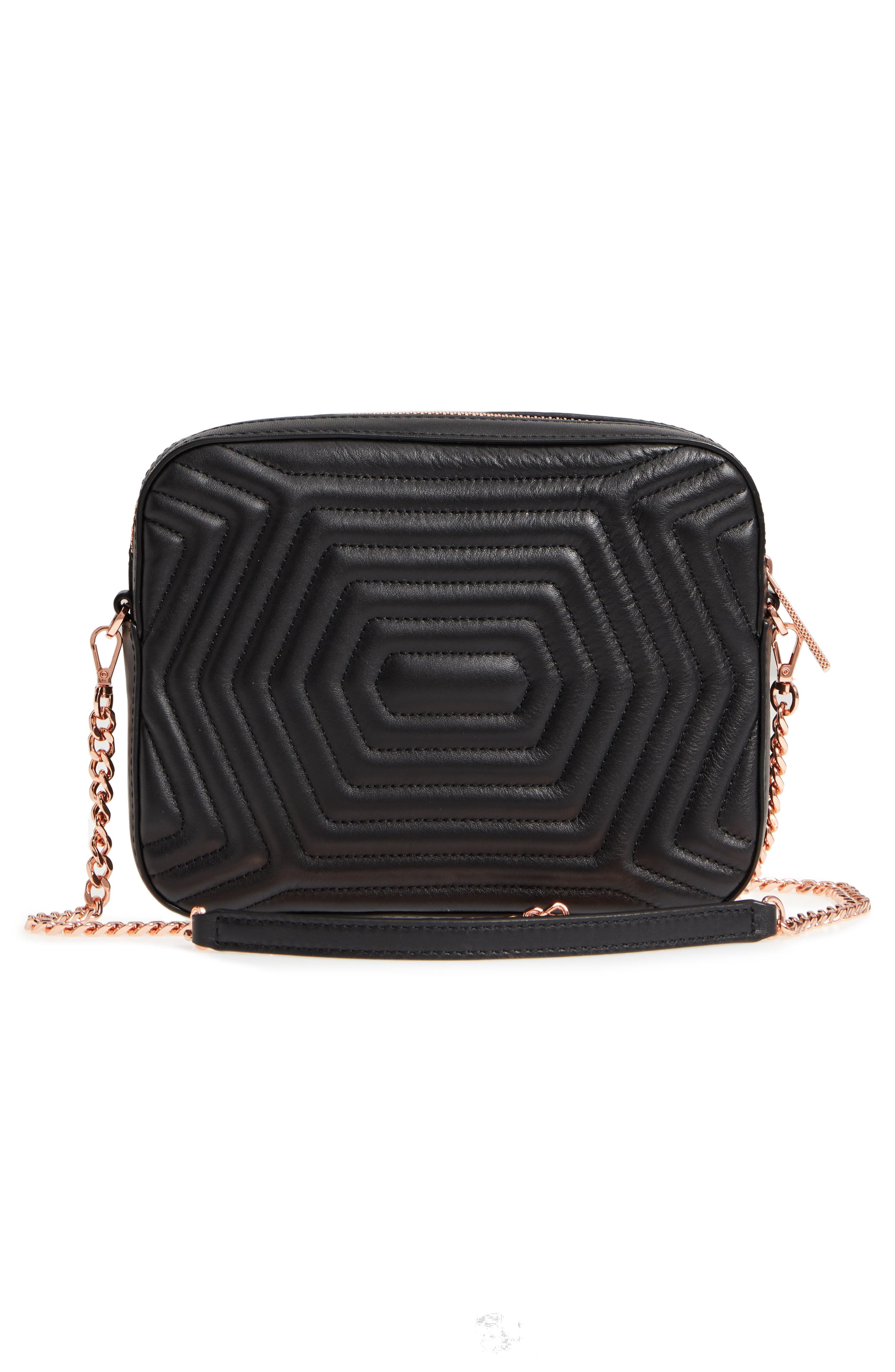 Quilted Leather Camera Bag,                             Alternate thumbnail 3, color,                             Black