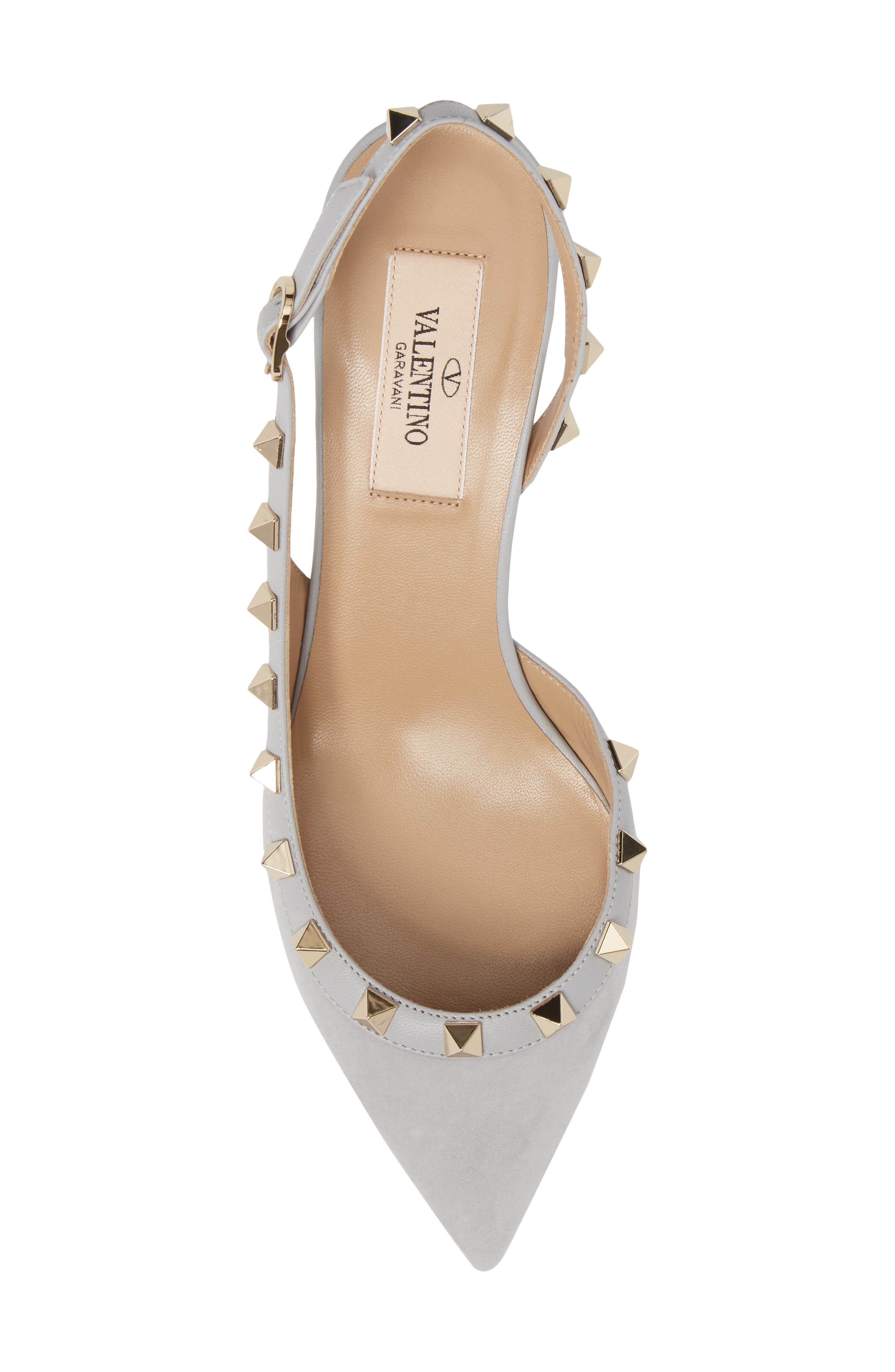 Rockstud Slingback Pump,                             Alternate thumbnail 5, color,                             Pastel Grey Suede