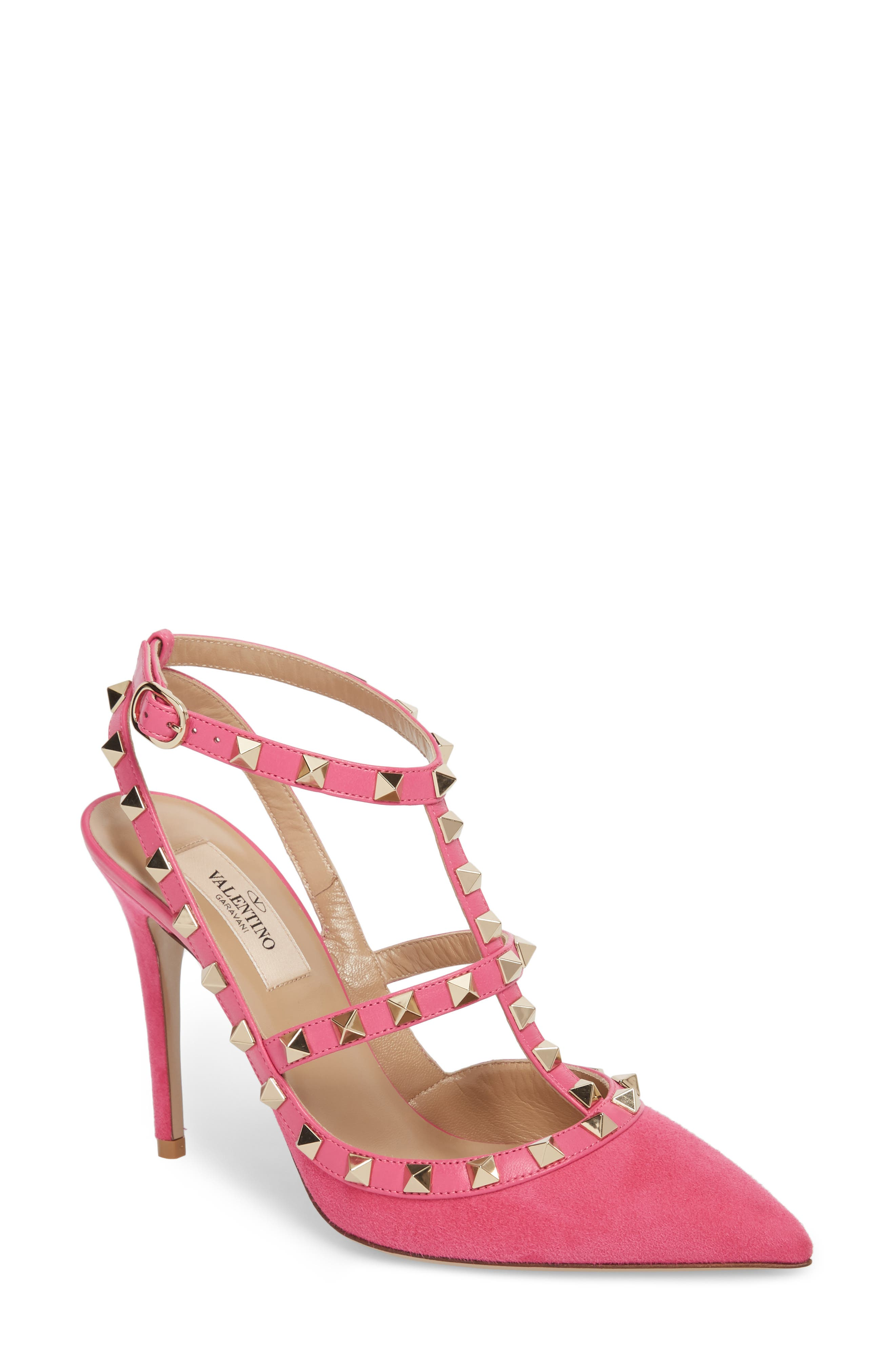 Rockstud T-Strap Pump,                         Main,                         color, Pink/ Pink