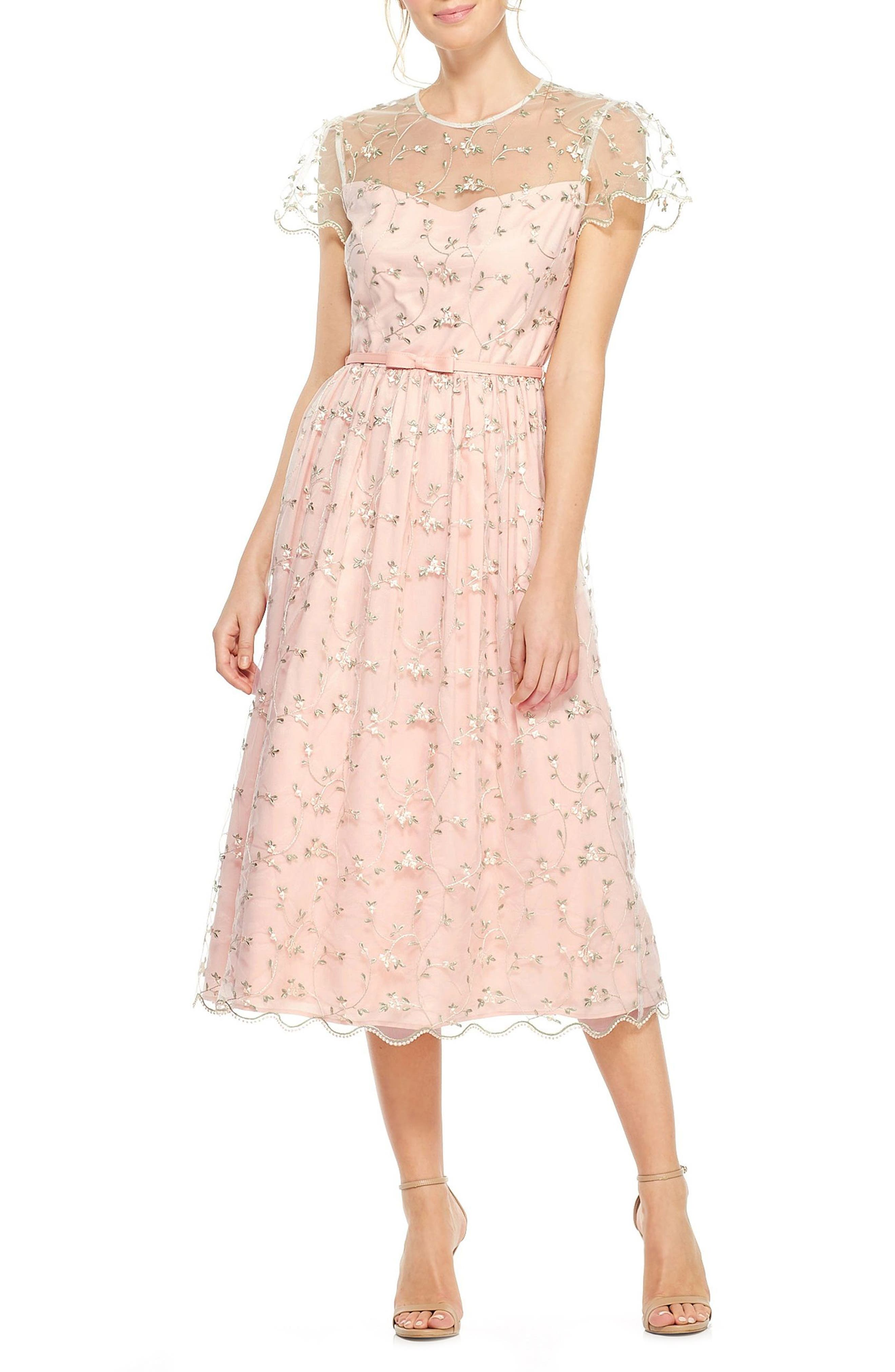 Penelope Baby Bud Embroidered Fit & Flare Midi Dress,                         Main,                         color, Cream Combo