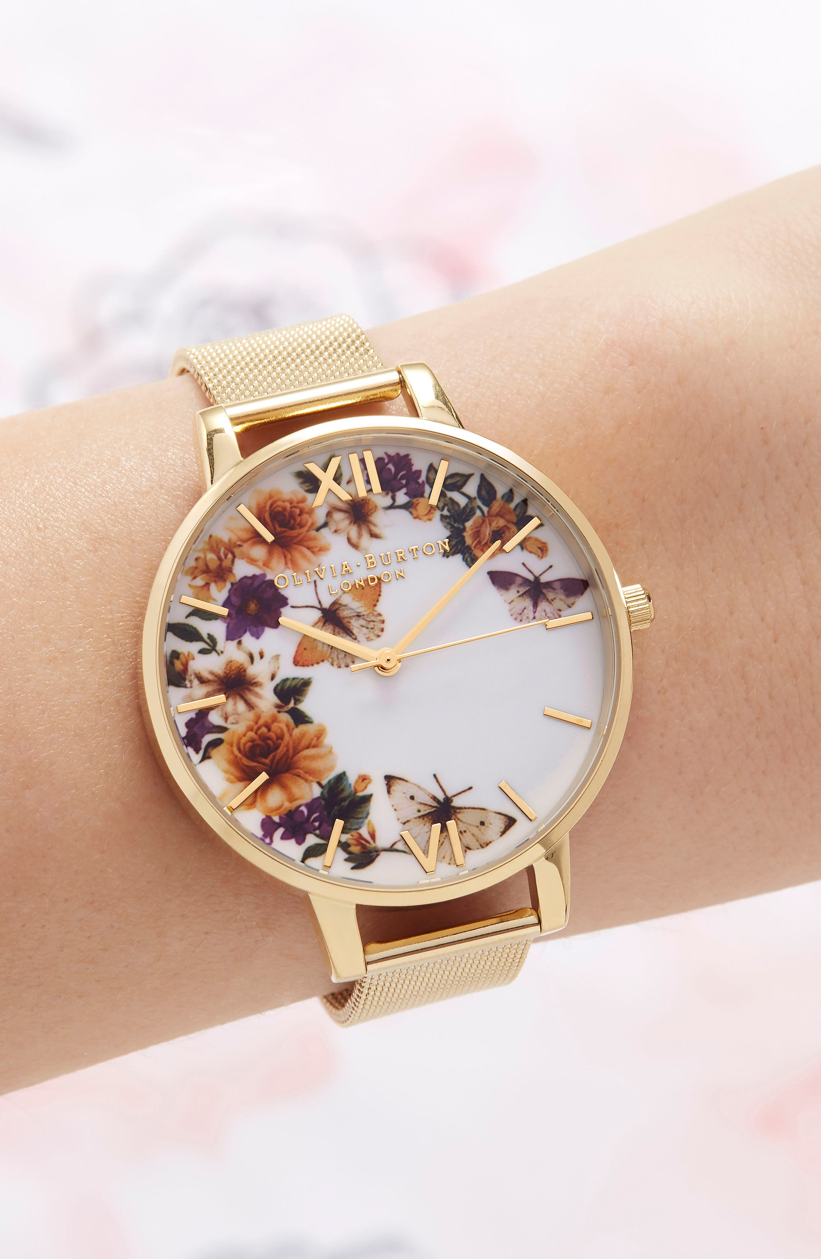 arden Mesh Strap Watch, 38mm,                             Alternate thumbnail 4, color,                             Gold/ Floral/ Gold