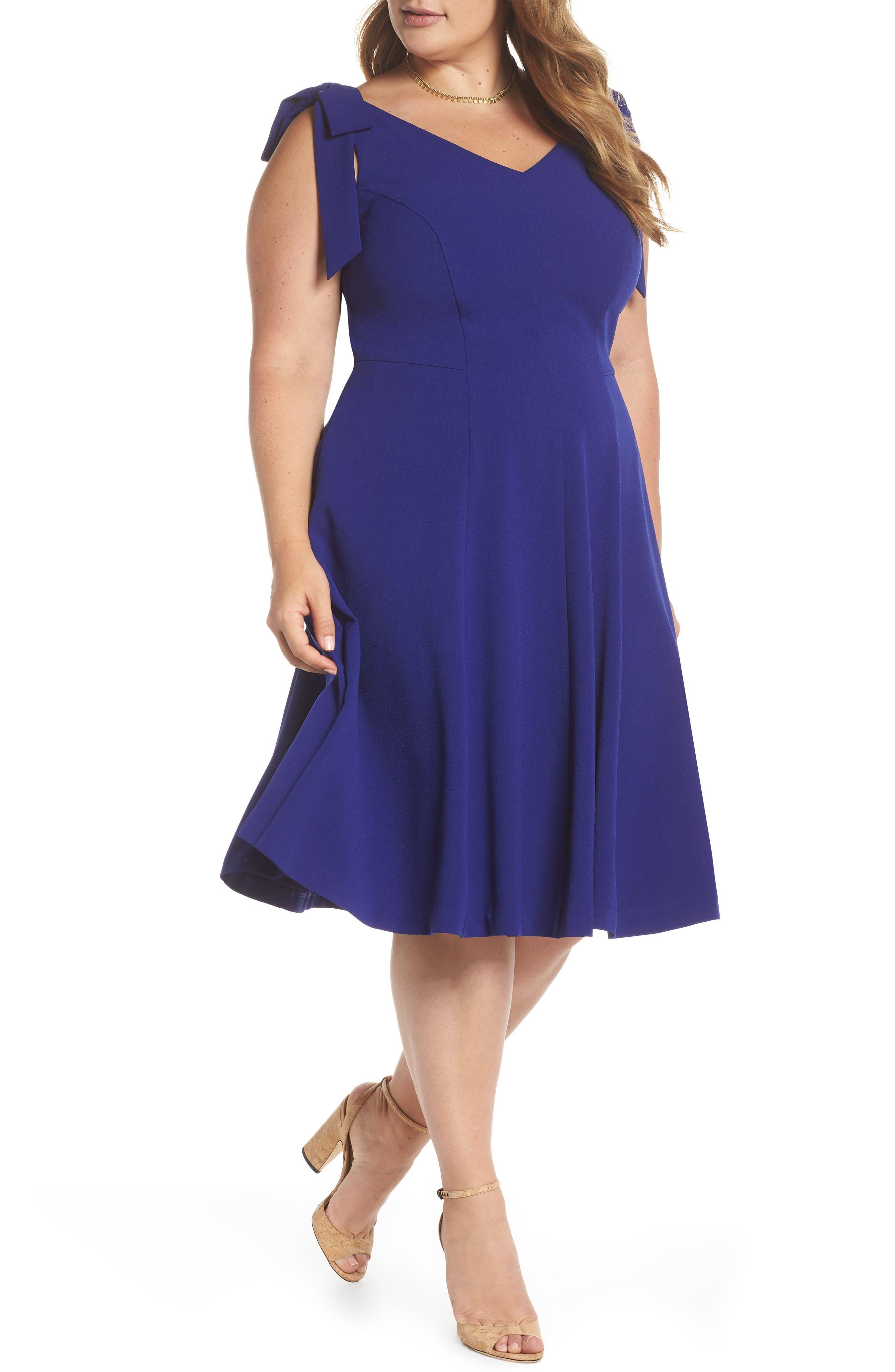 Tie-Shoulder Fit & Flare Dress,                         Main,                         color, Cobalt