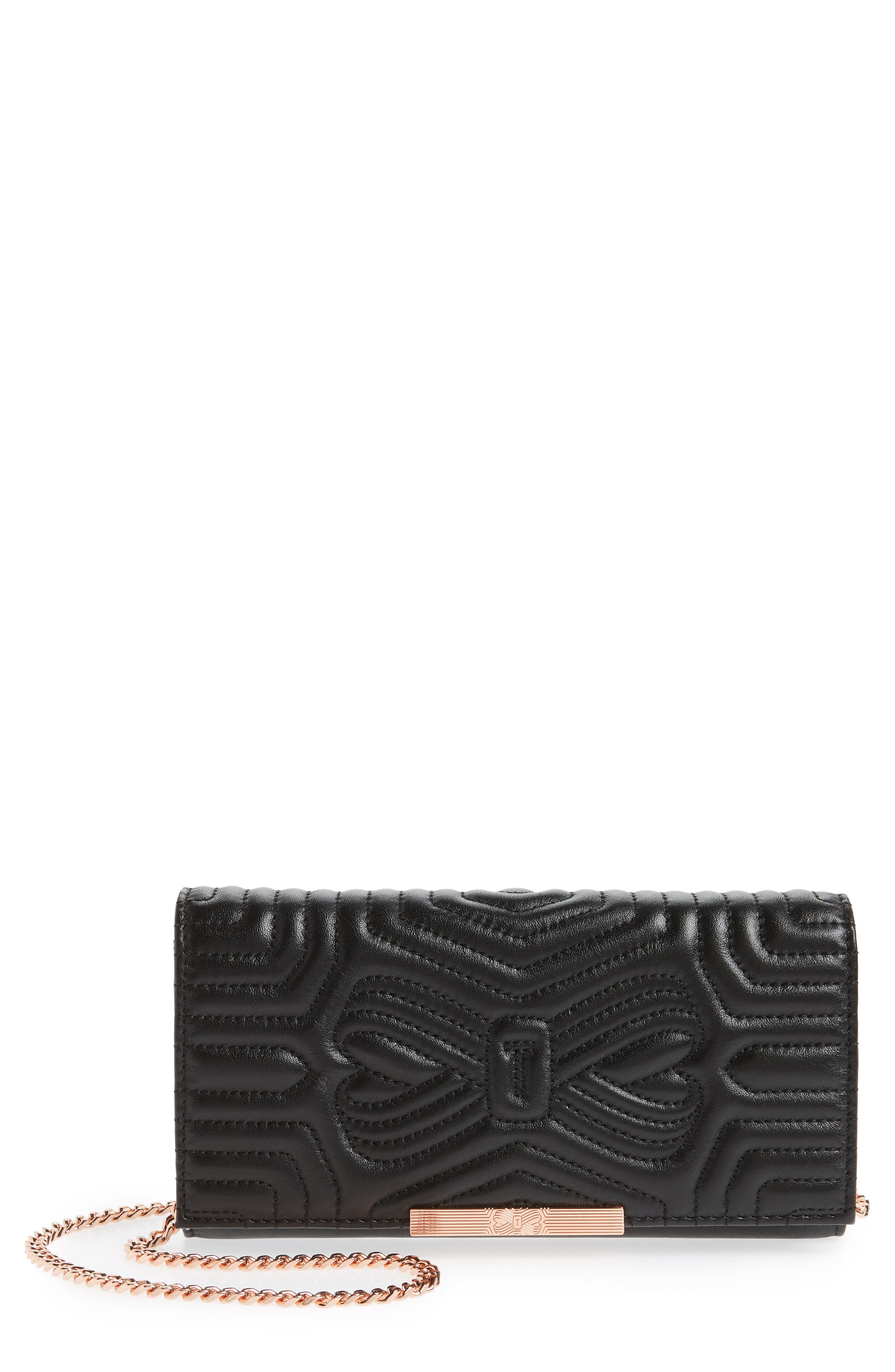 Quilted Bow Leather Matinée Wallet,                             Main thumbnail 1, color,                             Black