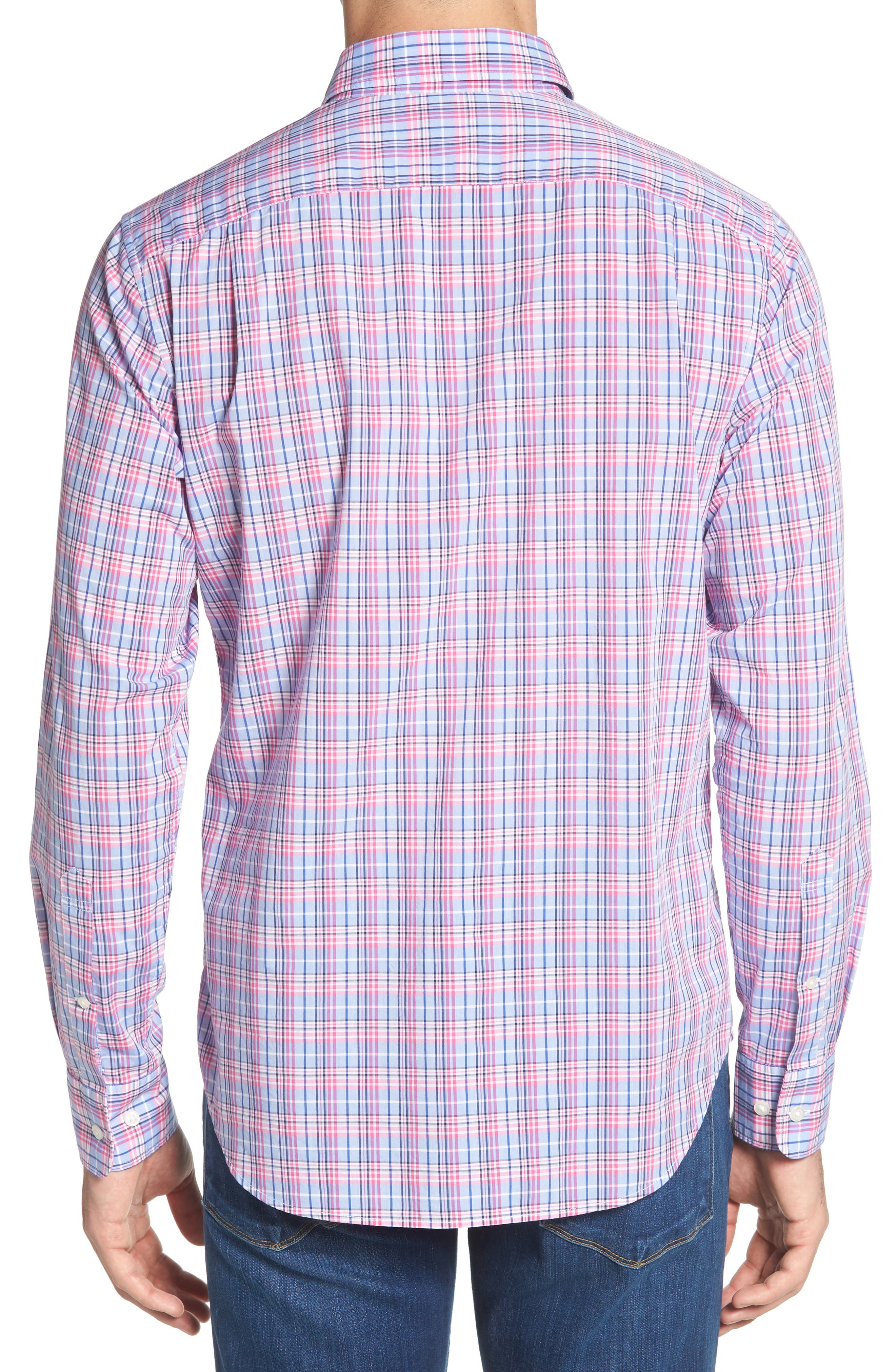 Summerweight Slim Fit Plaid Sport Shirt,                             Alternate thumbnail 3, color,                             Basswood Plaid - Pink Rocket