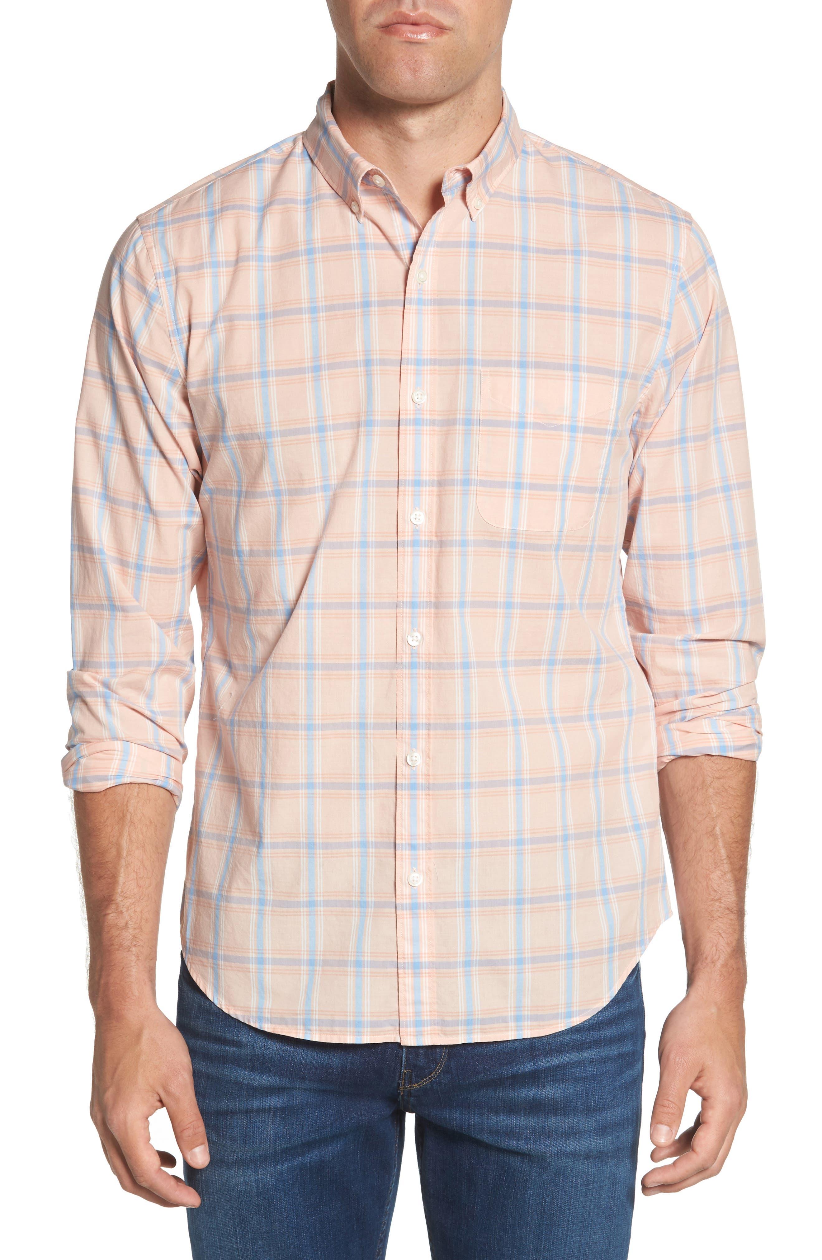 Summerweight Slim Fit Plaid Sport Shirt,                         Main,                         color, Frida Peak Plaid - Sorbet
