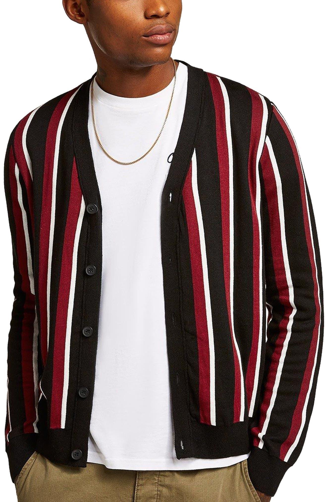 Slim Fit Stripe Cardigan,                         Main,                         color, Black Multi