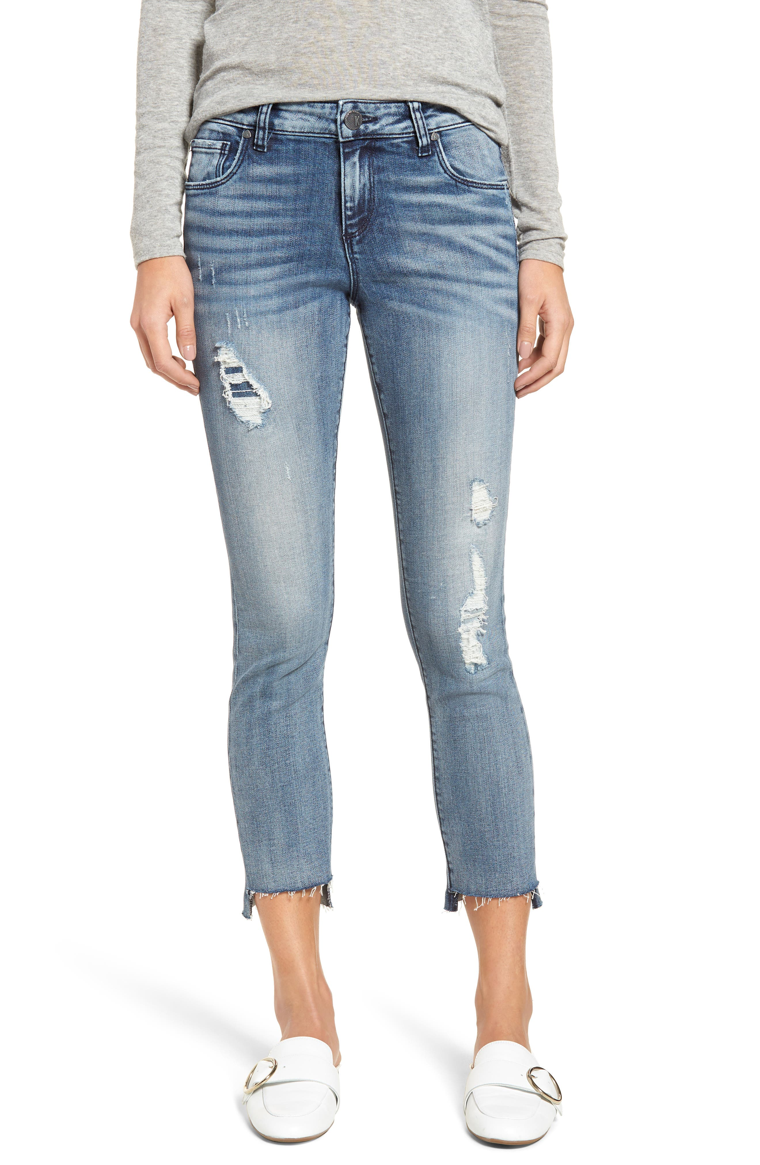 KUT FROM THE KLOTH REESE RIPPED ANKLE SLIM JEANS