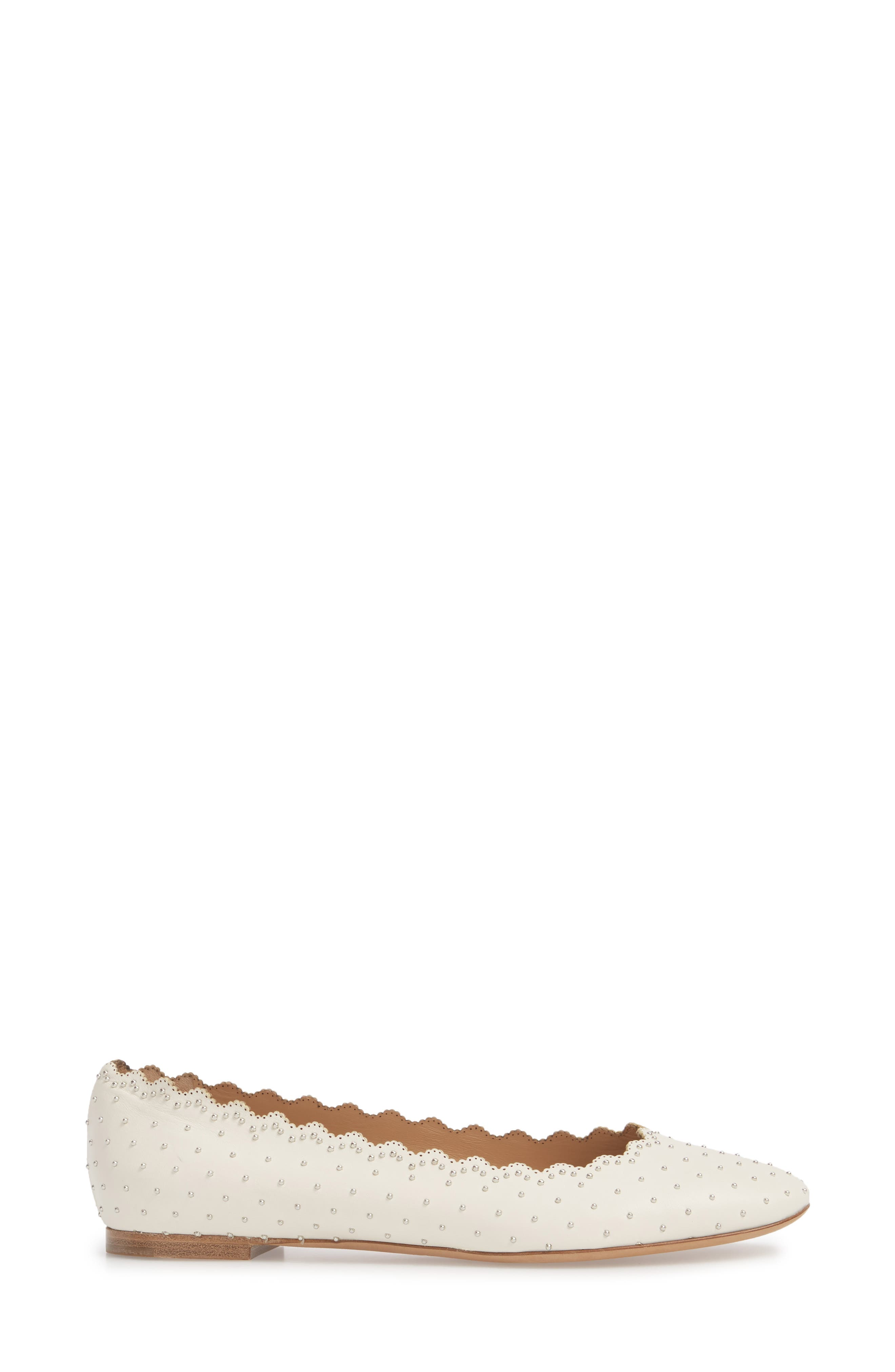 Lauren Studded Ballet Flat,                             Alternate thumbnail 3, color,                             White