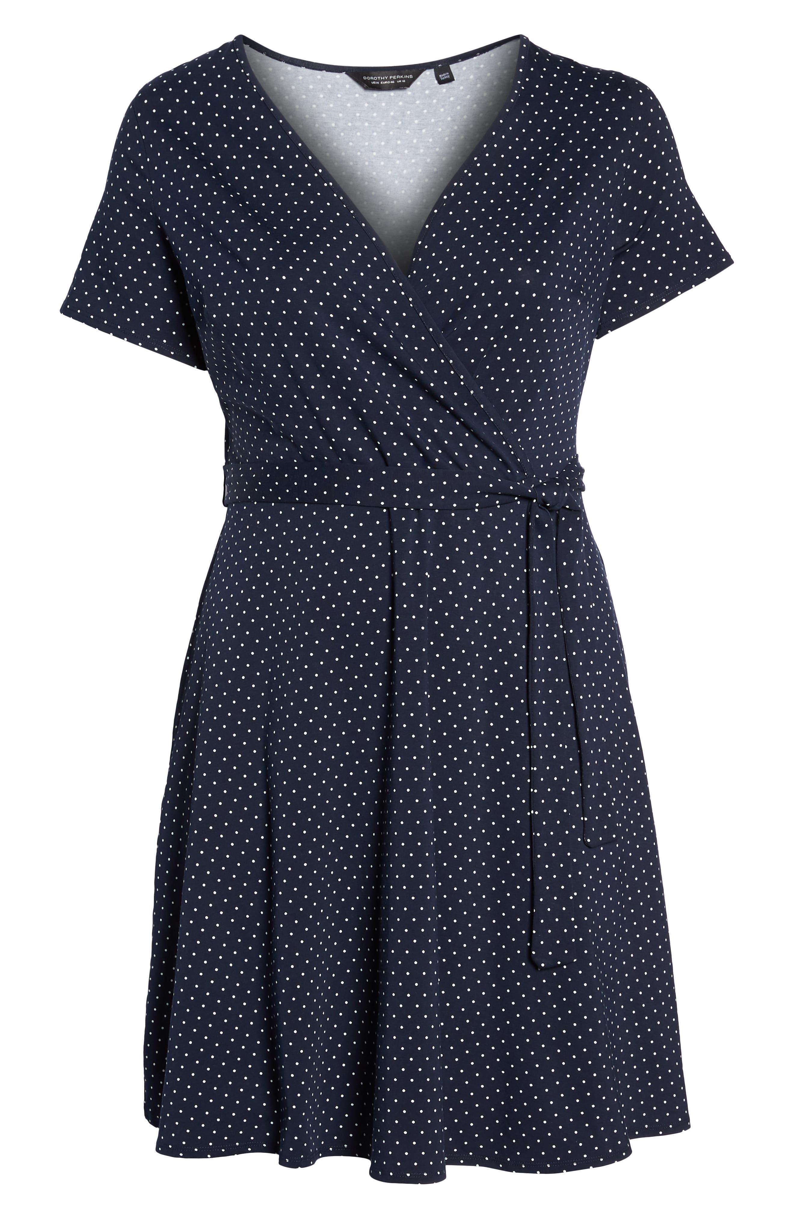 Spot Fit & Flare Wrap Dress,                             Alternate thumbnail 7, color,                             Navy