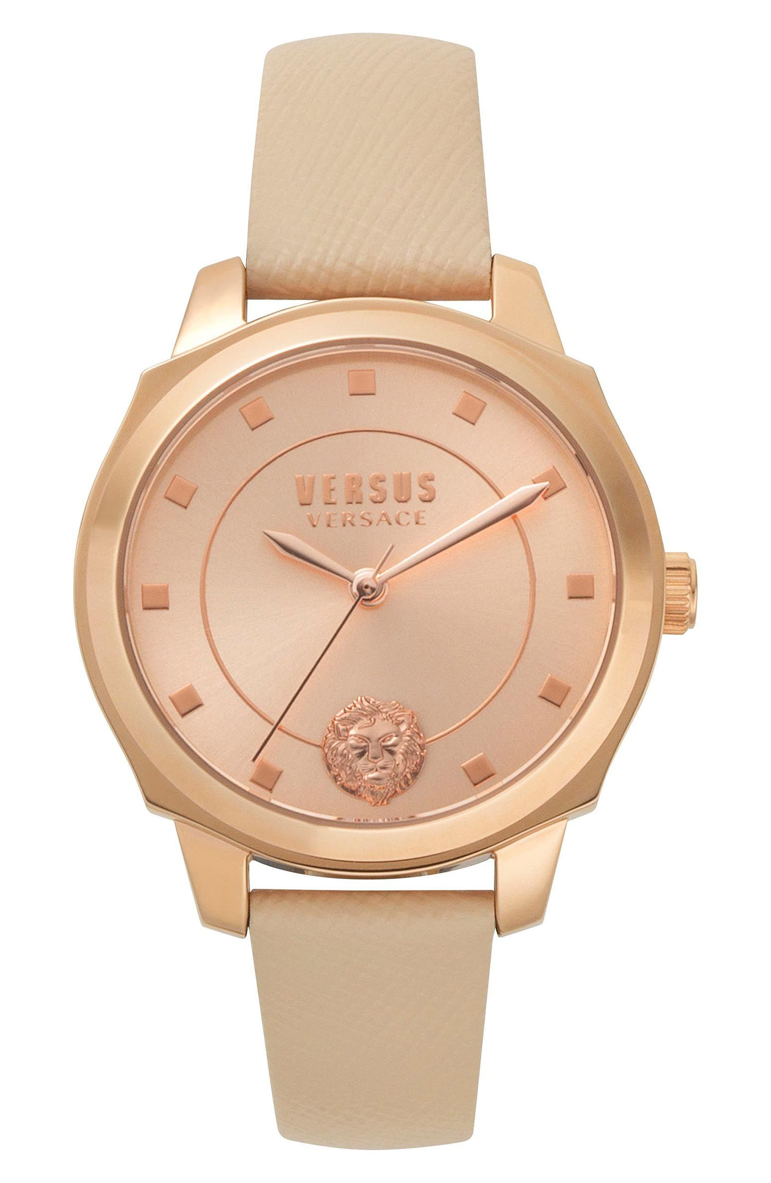 VERSUS by Versace Chelsea Leather Strap Watch, 34mm,                             Main thumbnail 1, color,                             Tan/ Rose Gold