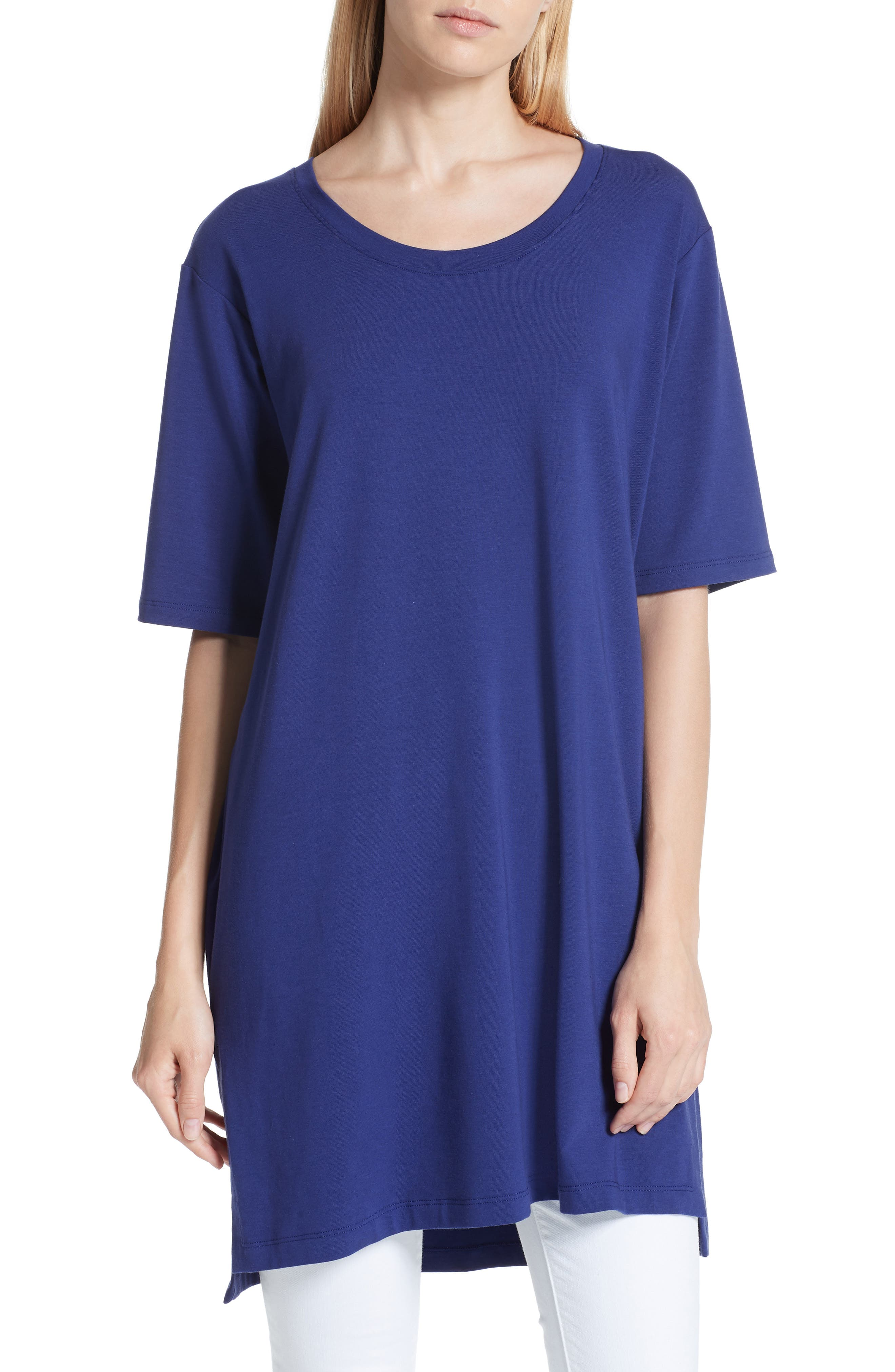 Stretch Organic Cotton Jersey Tunic,                         Main,                         color, Sapphire