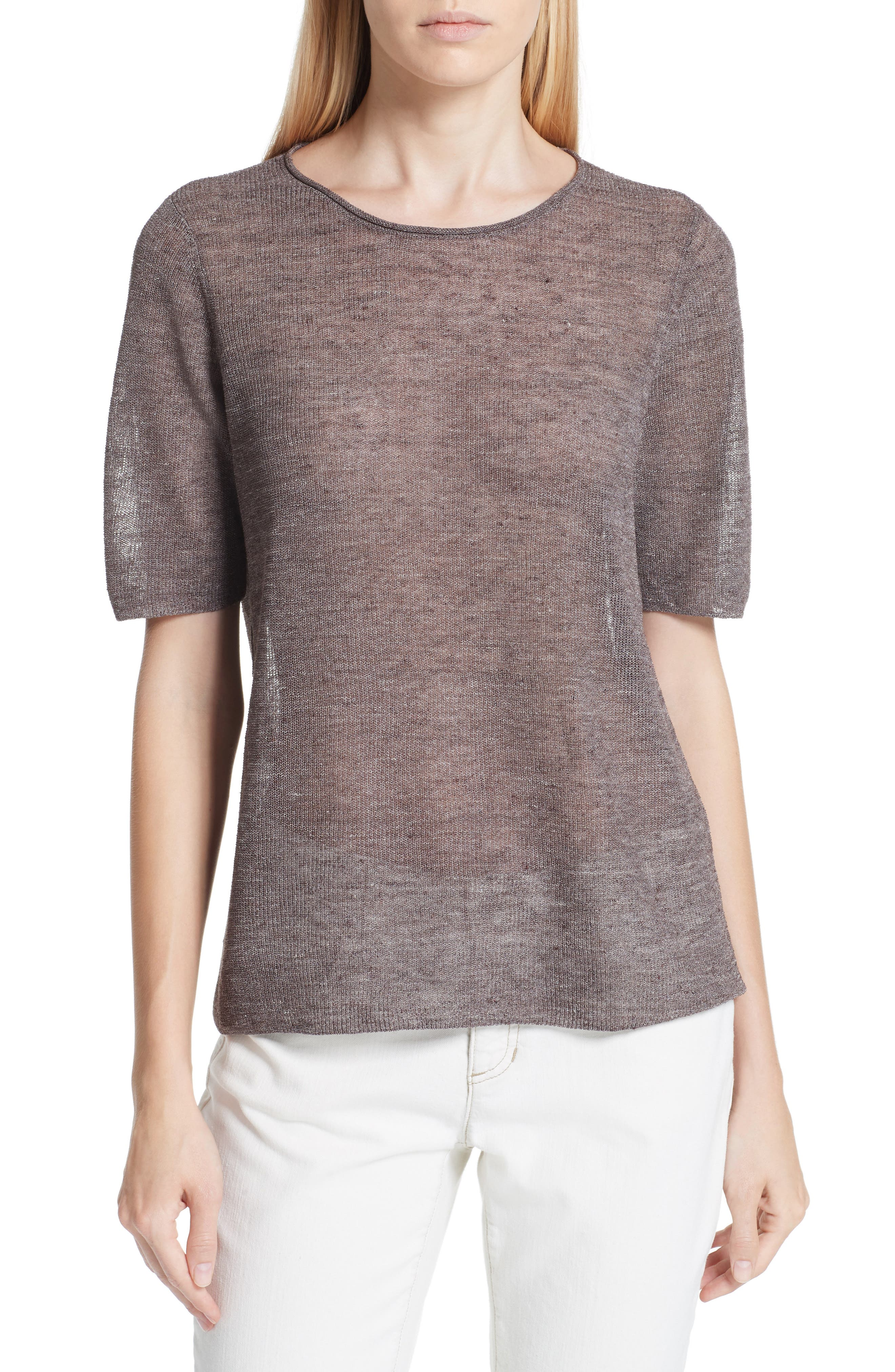 Short Sleeve Linen Blend Sweater,                         Main,                         color, Rye