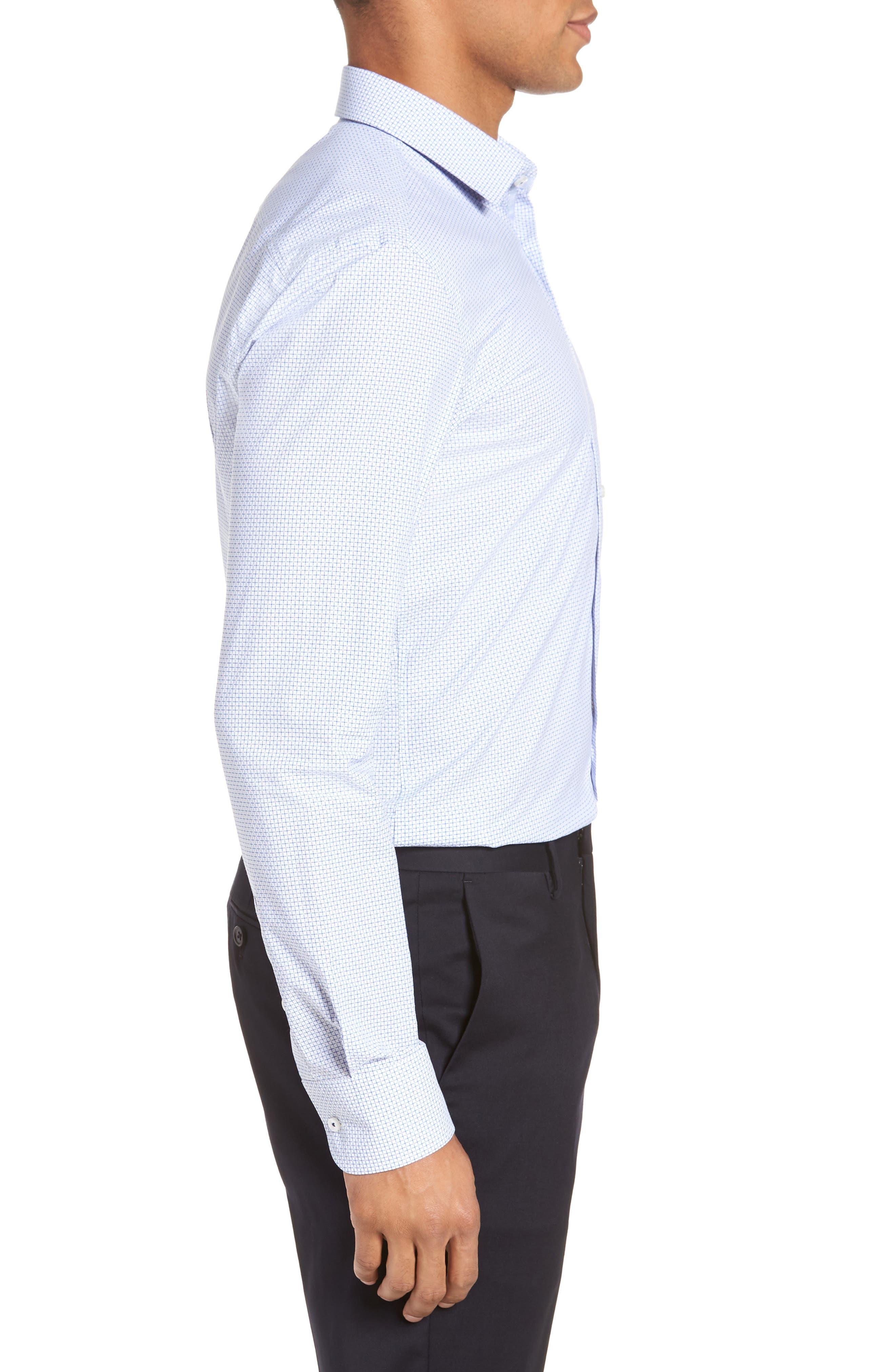 Jesse Slim Fit Check Dress Shirt,                             Alternate thumbnail 4, color,                             Blue