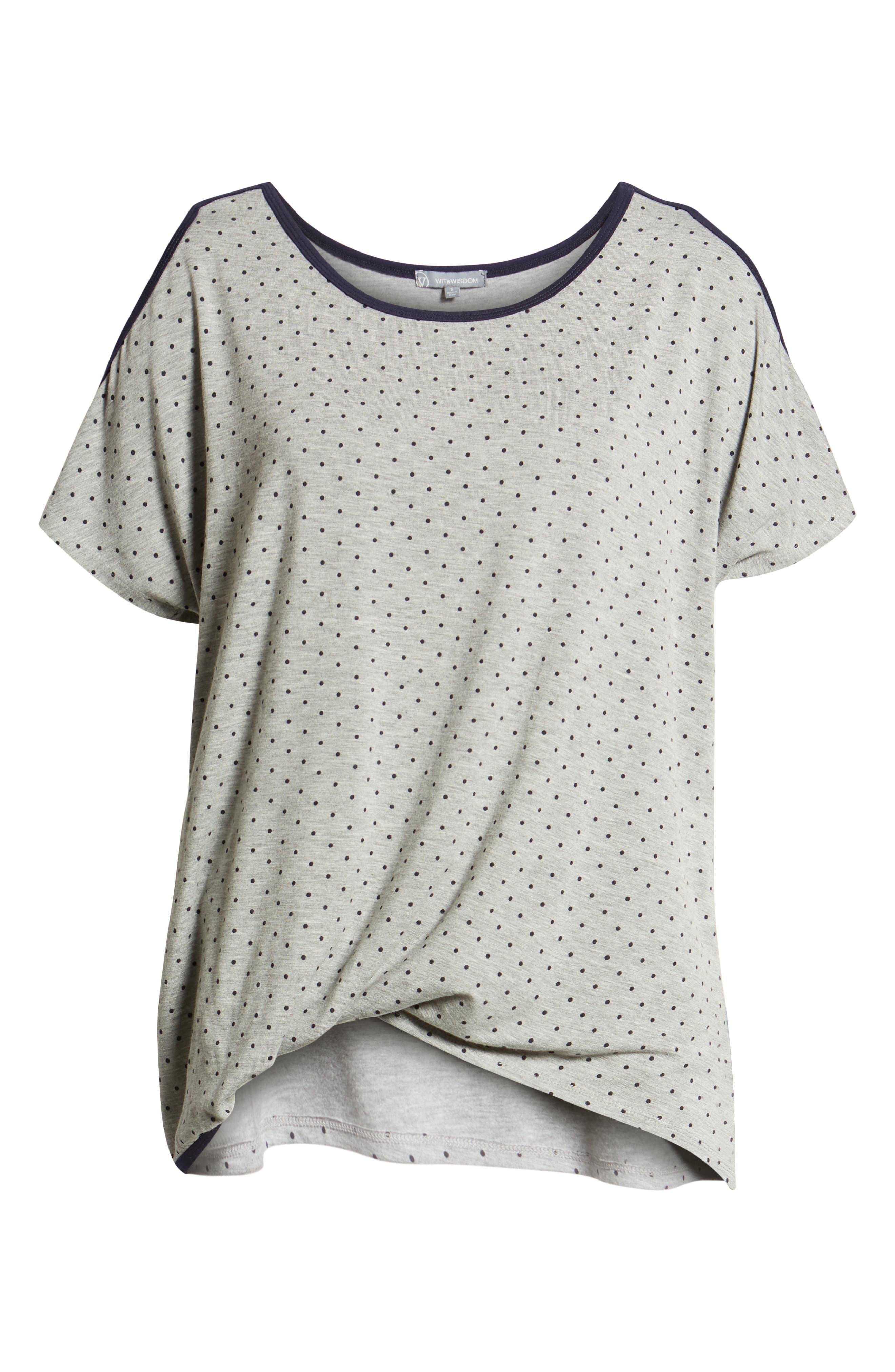 Polka Dot Twist Front Cold Shoulder Top,                             Alternate thumbnail 6, color,                             Heather Grey