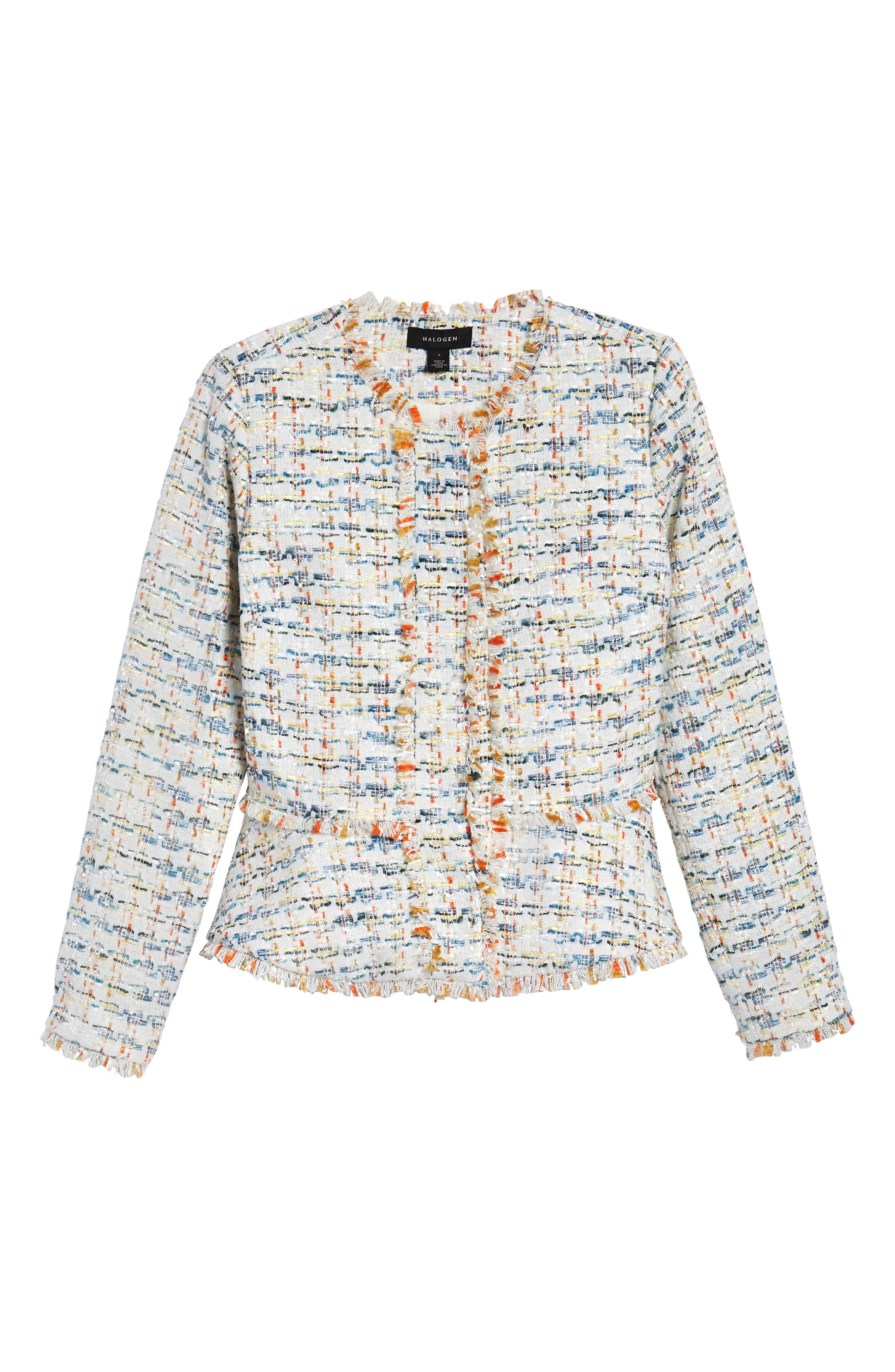 Tweed Peplum Jacket,                             Alternate thumbnail 7, color,                             Ivory Multi Tweed