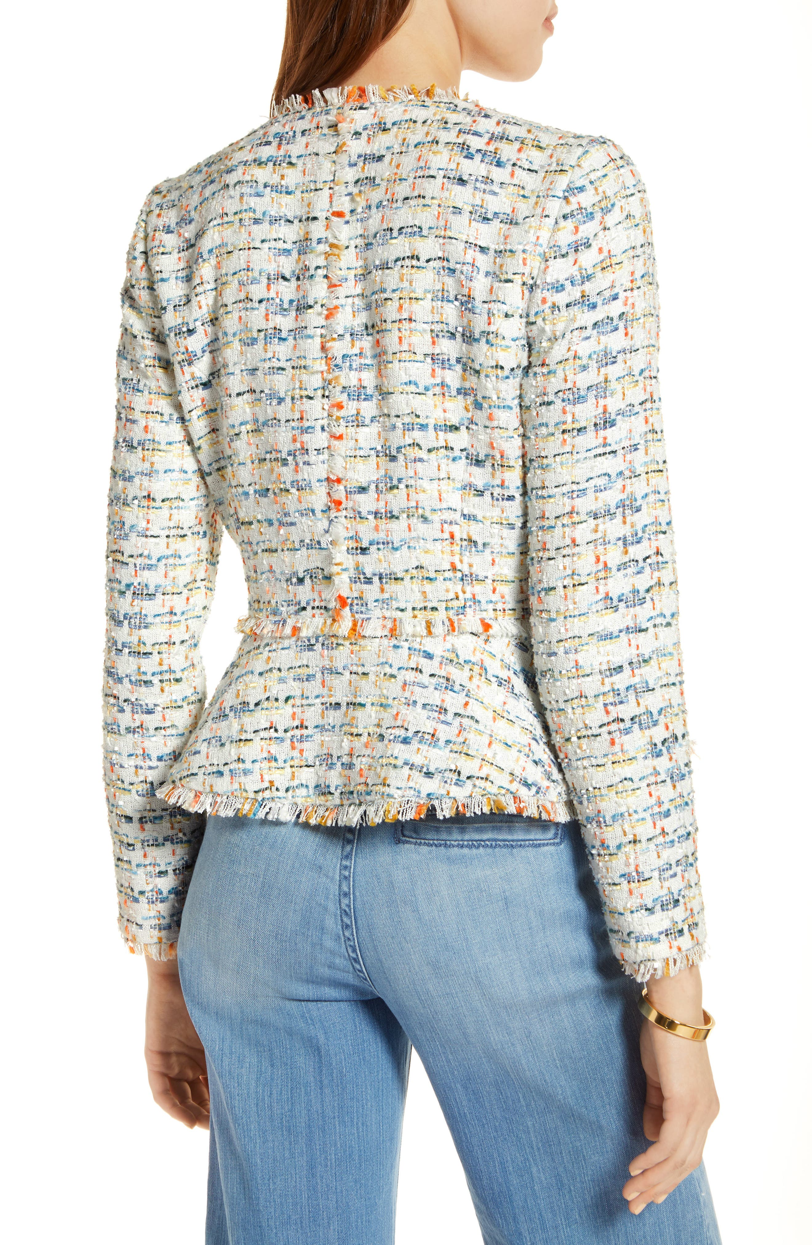 Tweed Peplum Jacket,                             Alternate thumbnail 2, color,                             Ivory Multi Tweed