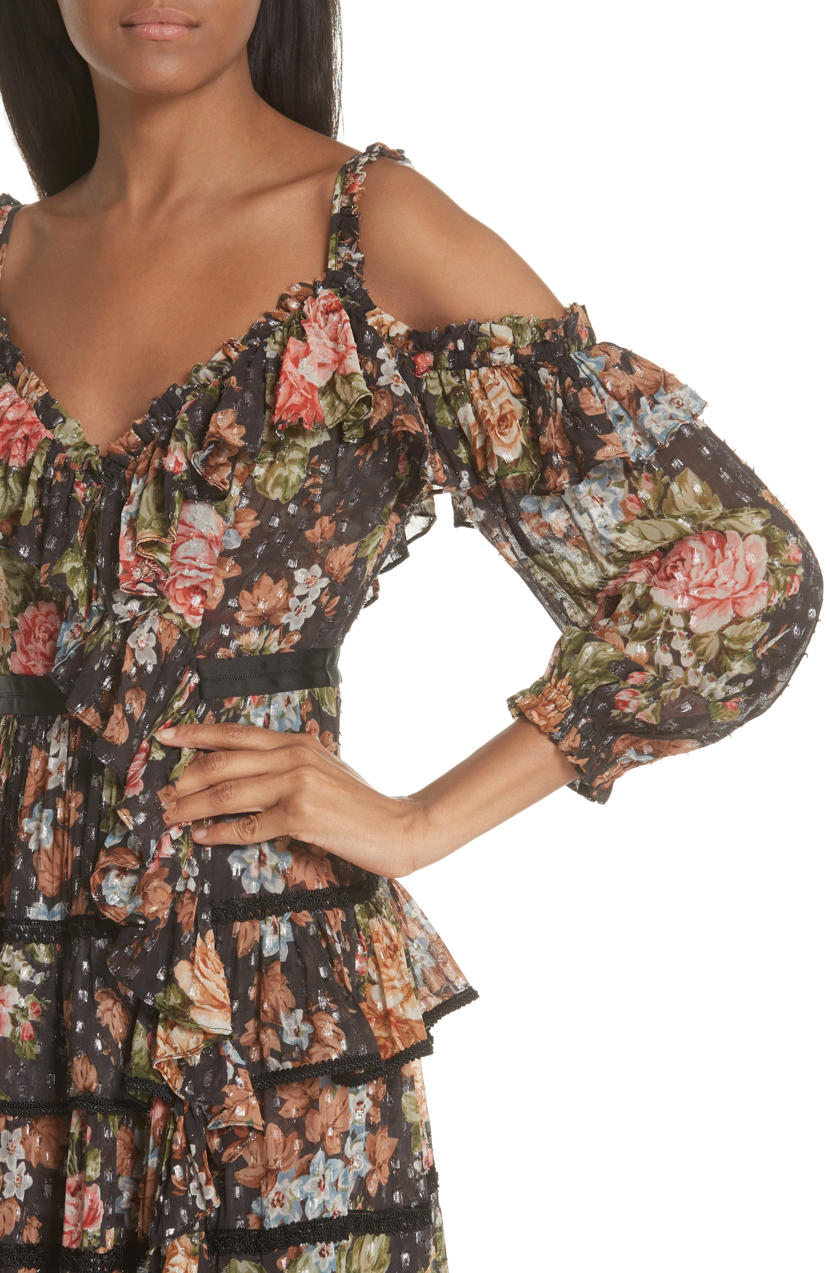 Paradise Rose Shimmer Dress,                             Alternate thumbnail 4, color,                             Graphite