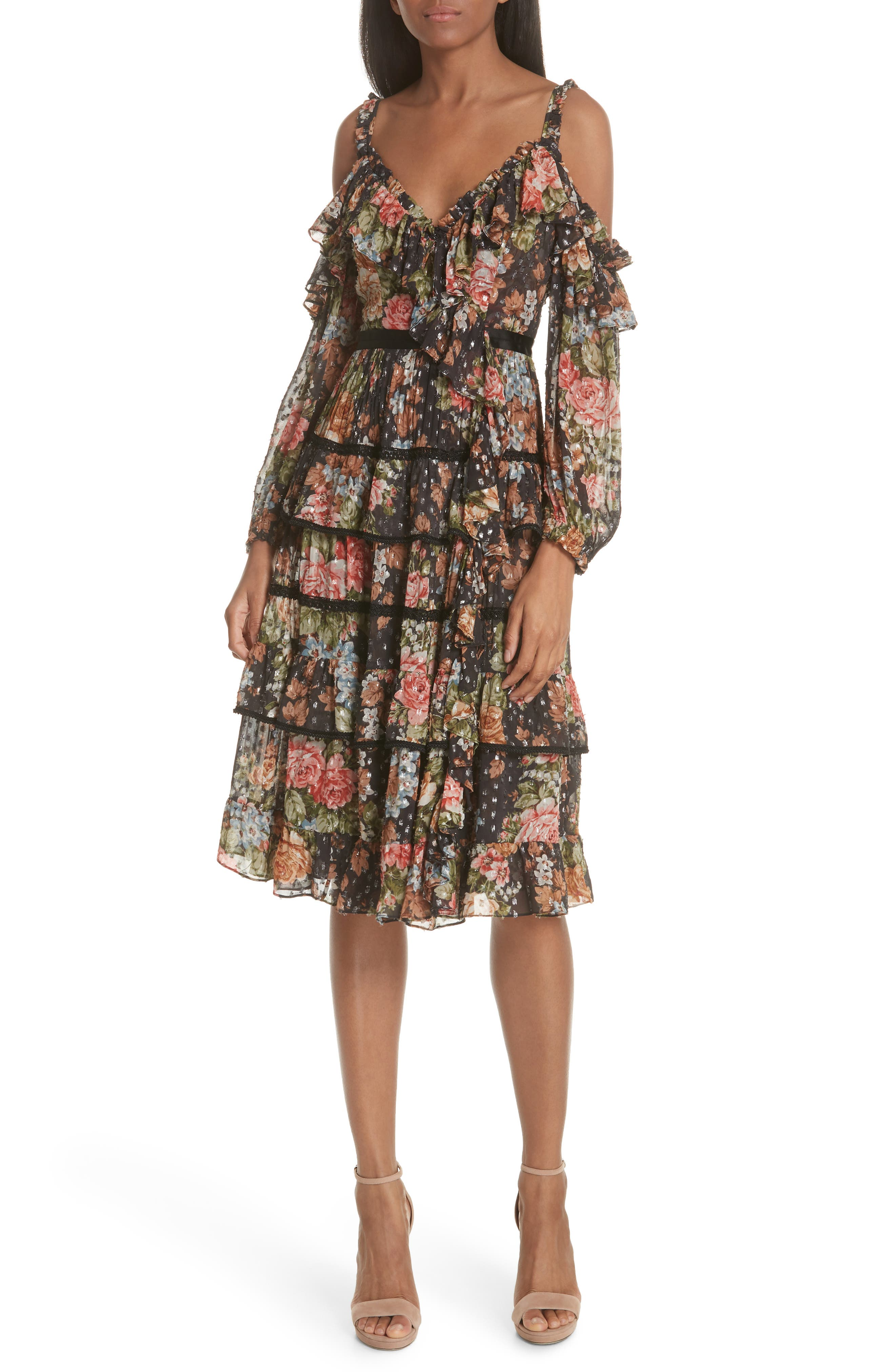 Paradise Rose Shimmer Dress,                             Main thumbnail 1, color,                             Graphite