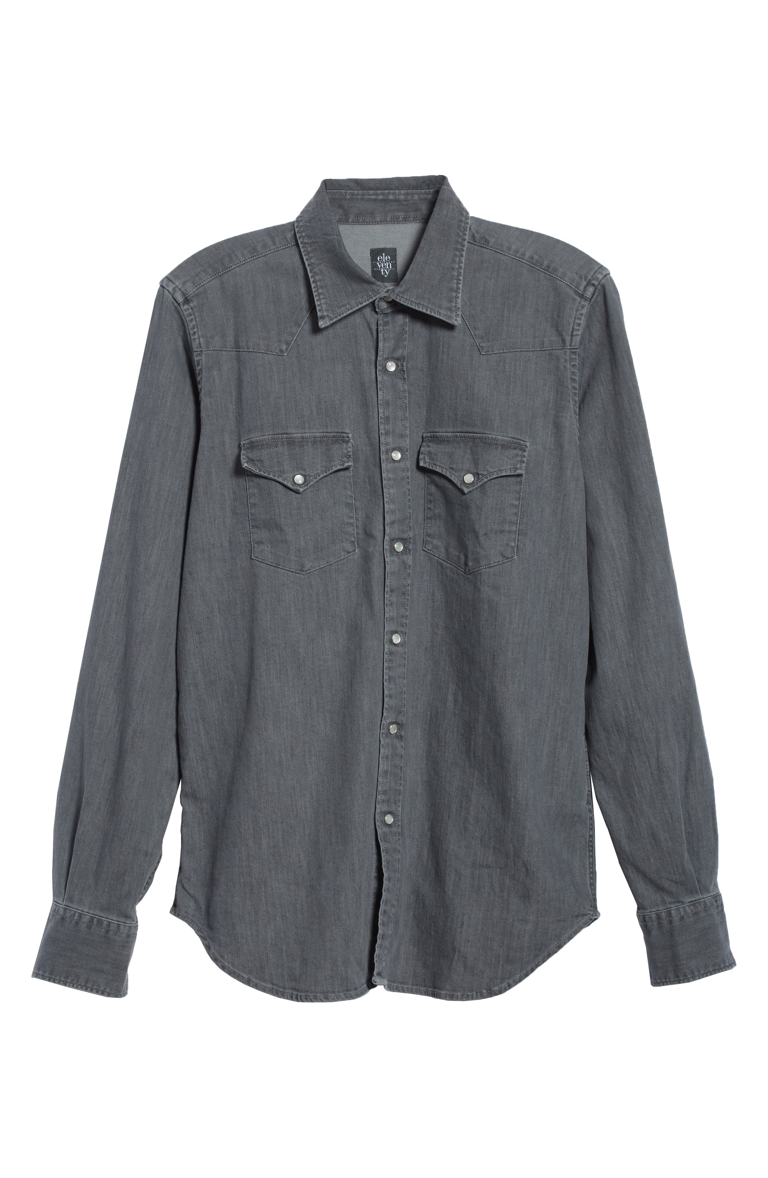 Slim Fit Denim Western Shirt,                             Alternate thumbnail 6, color,                             Grey