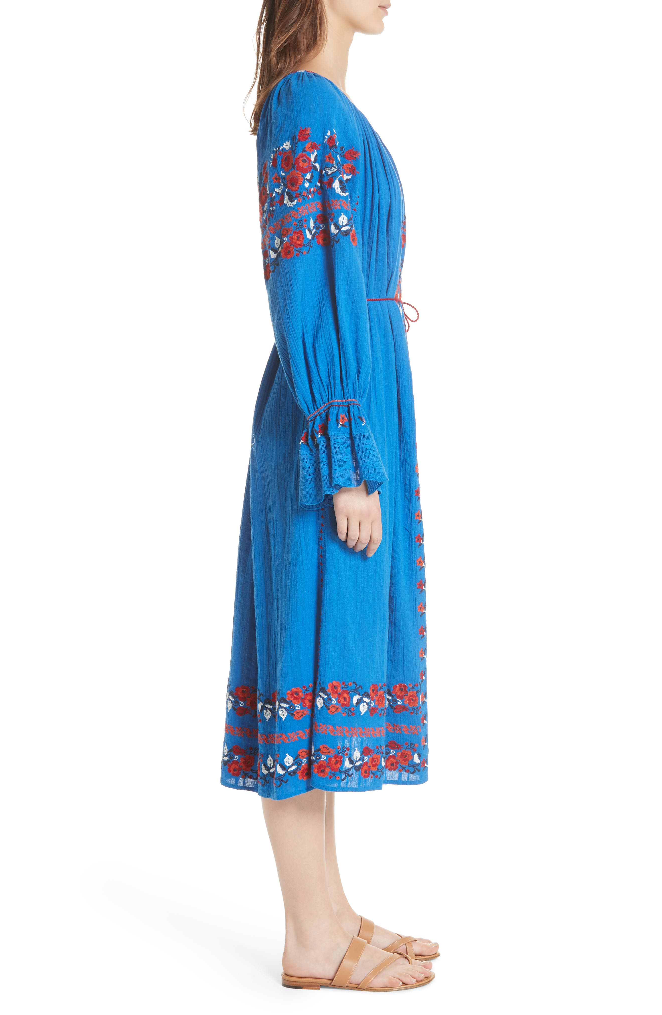 Filia Embroidered Midi Dress,                             Alternate thumbnail 3, color,                             Cobalt