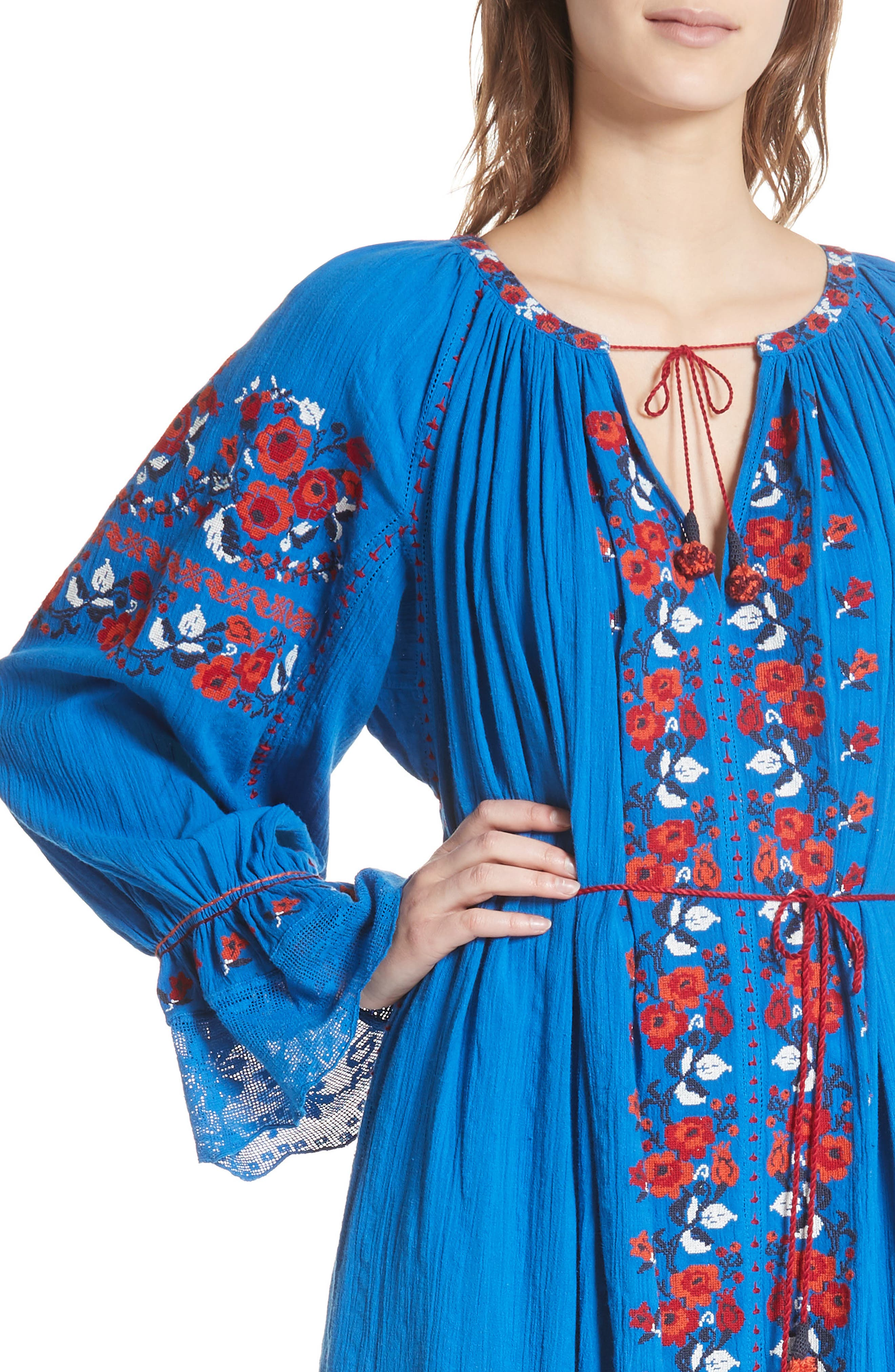 Filia Embroidered Midi Dress,                             Alternate thumbnail 4, color,                             Cobalt