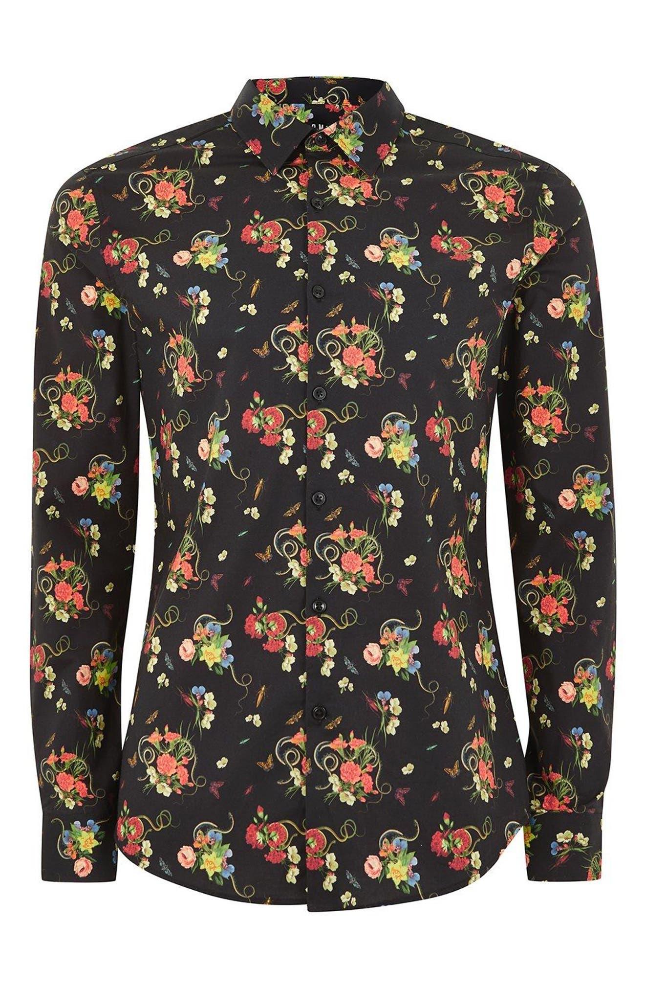 Snake Floral Print Shirt,                             Alternate thumbnail 4, color,                             Black Multi