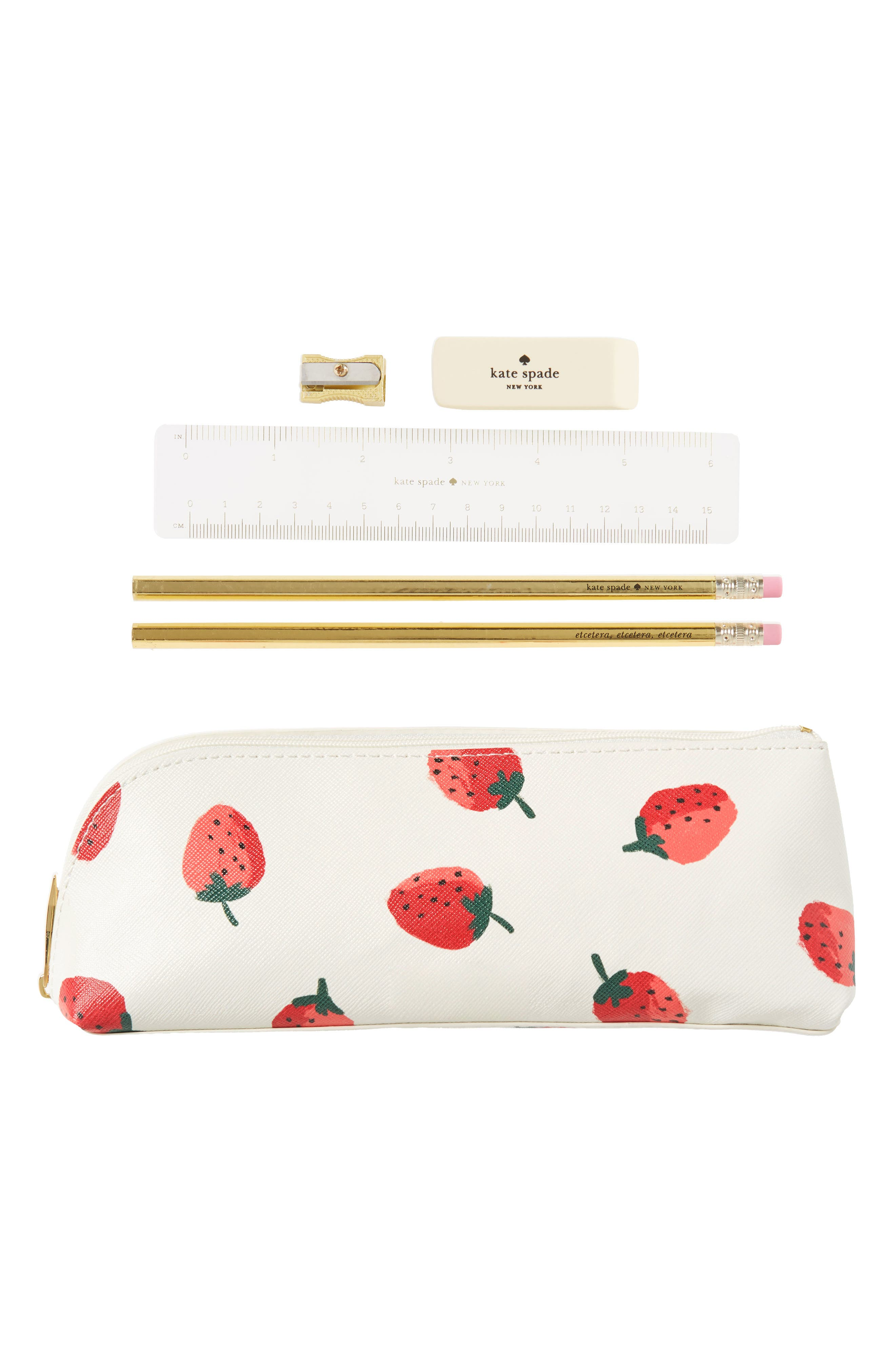 kate spade new york strawberry faux leather pencil case