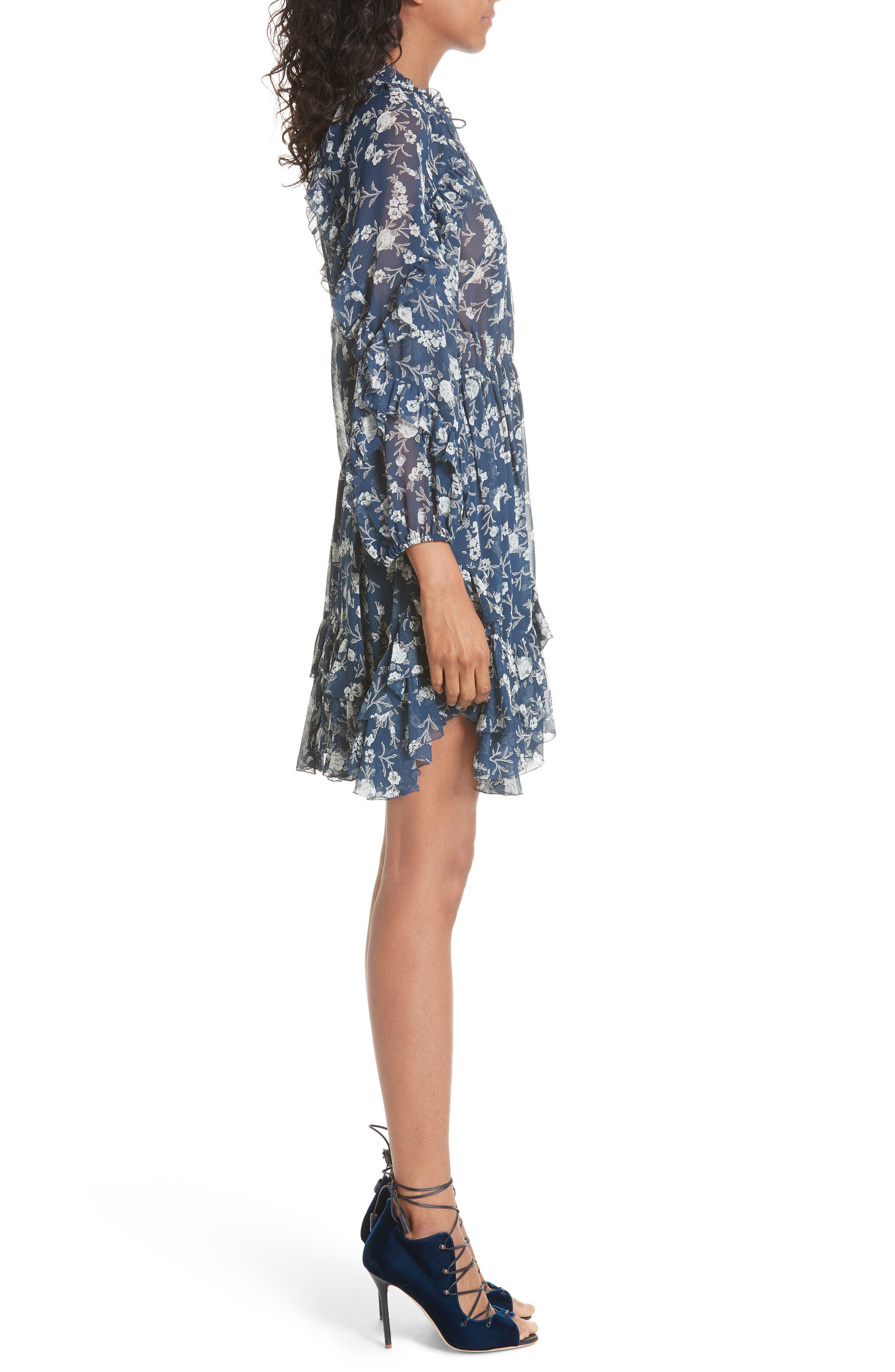 Alissa Silk Dress,                             Alternate thumbnail 3, color,                             Azure