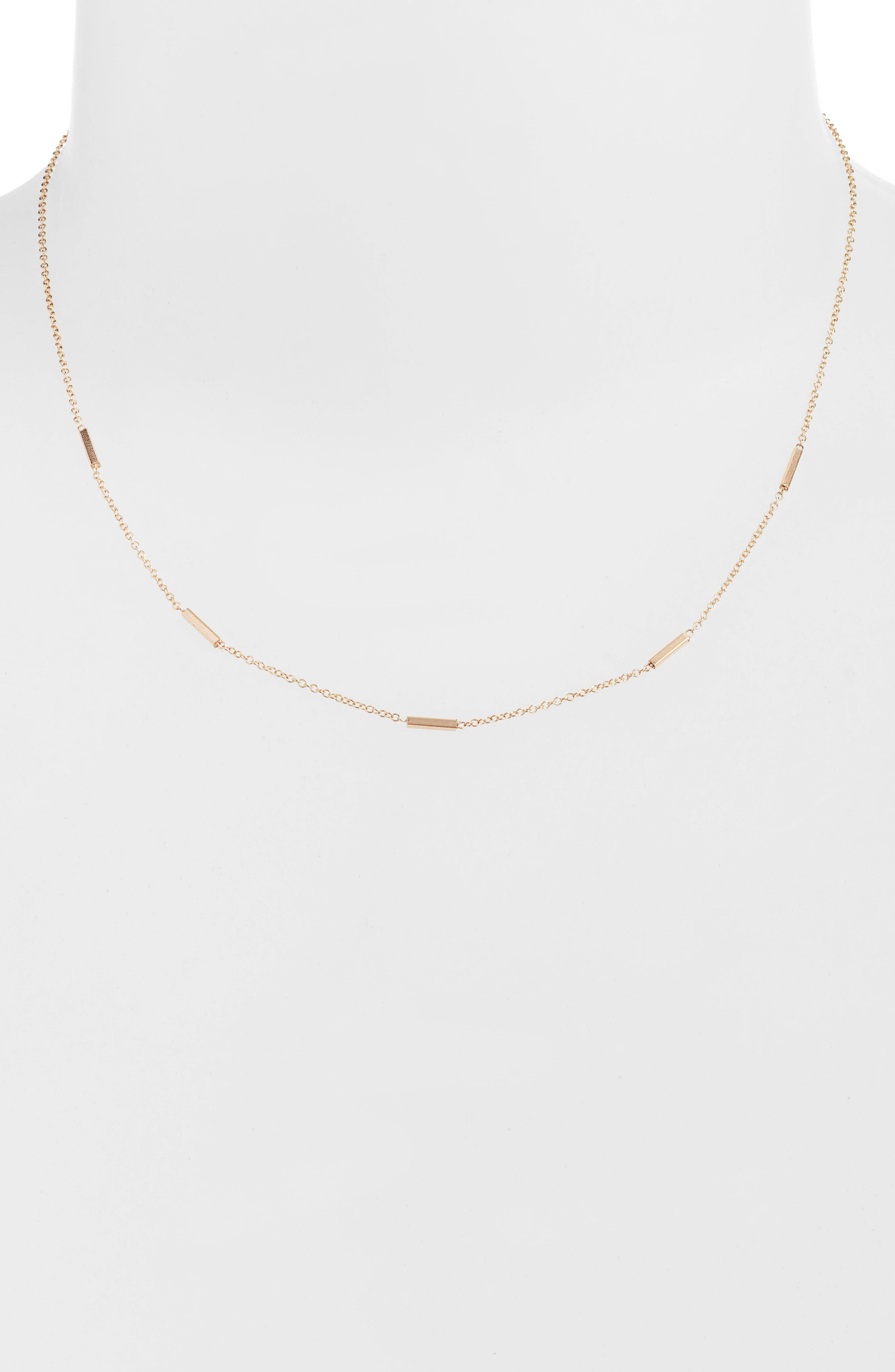 Tiny Bar Station Short Necklace,                         Main,                         color, Yellow Gold