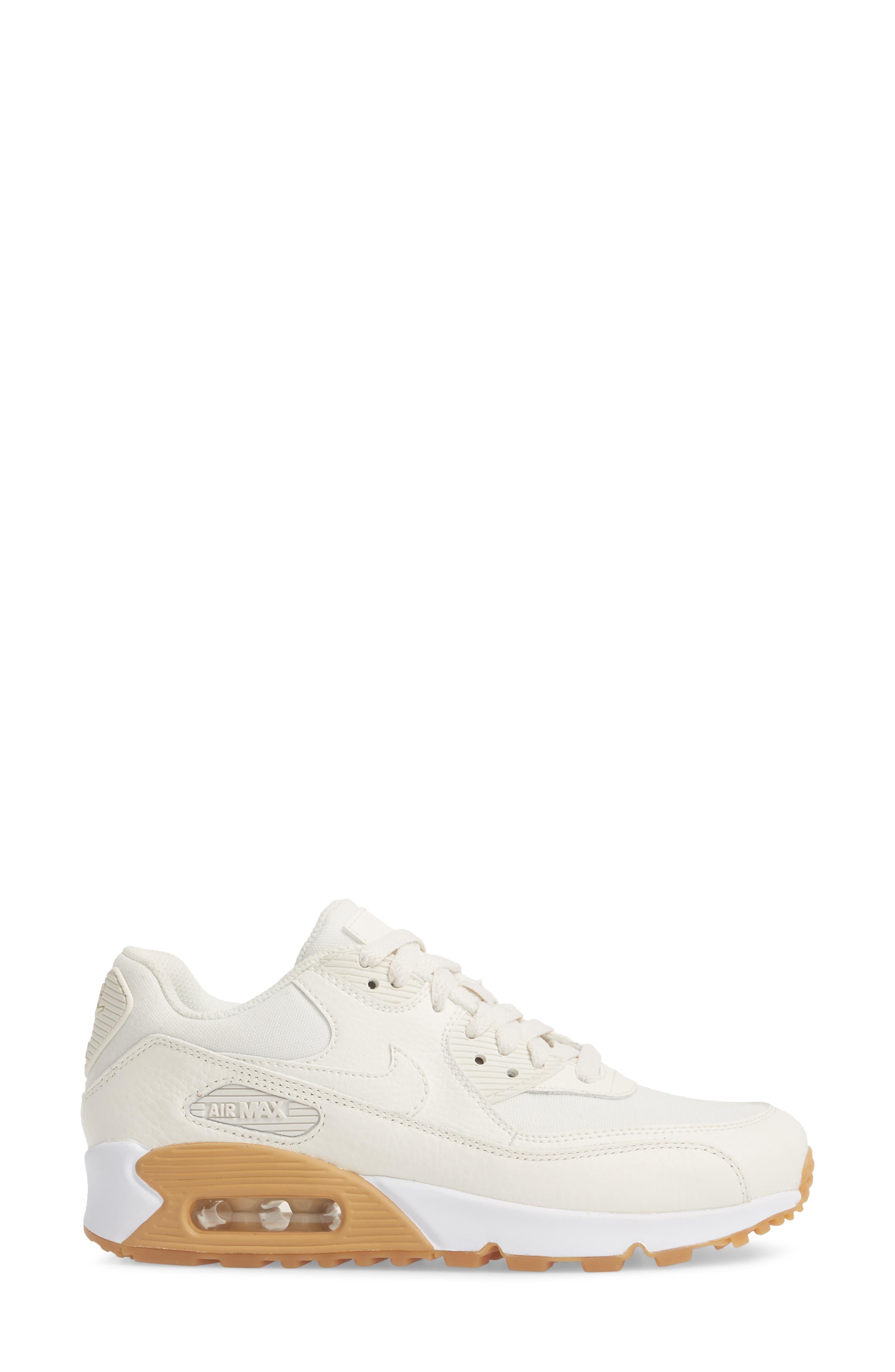 Air Max 90 Premium Sneaker,                             Alternate thumbnail 3, color,                             Sail/ Light Brown/ White