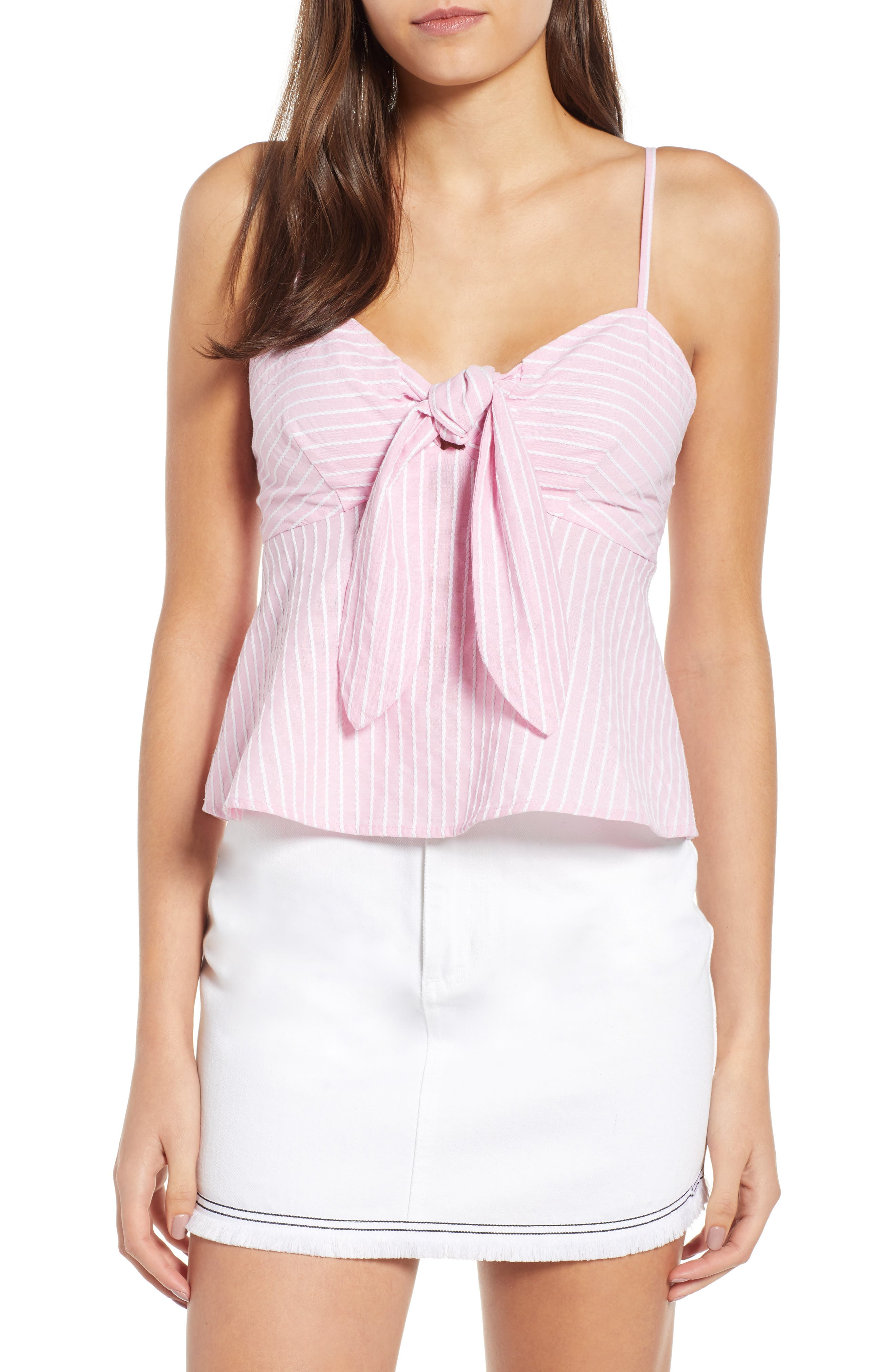 Parcel Stripe Tie Front Tank,                             Main thumbnail 1, color,                             Blossom With White