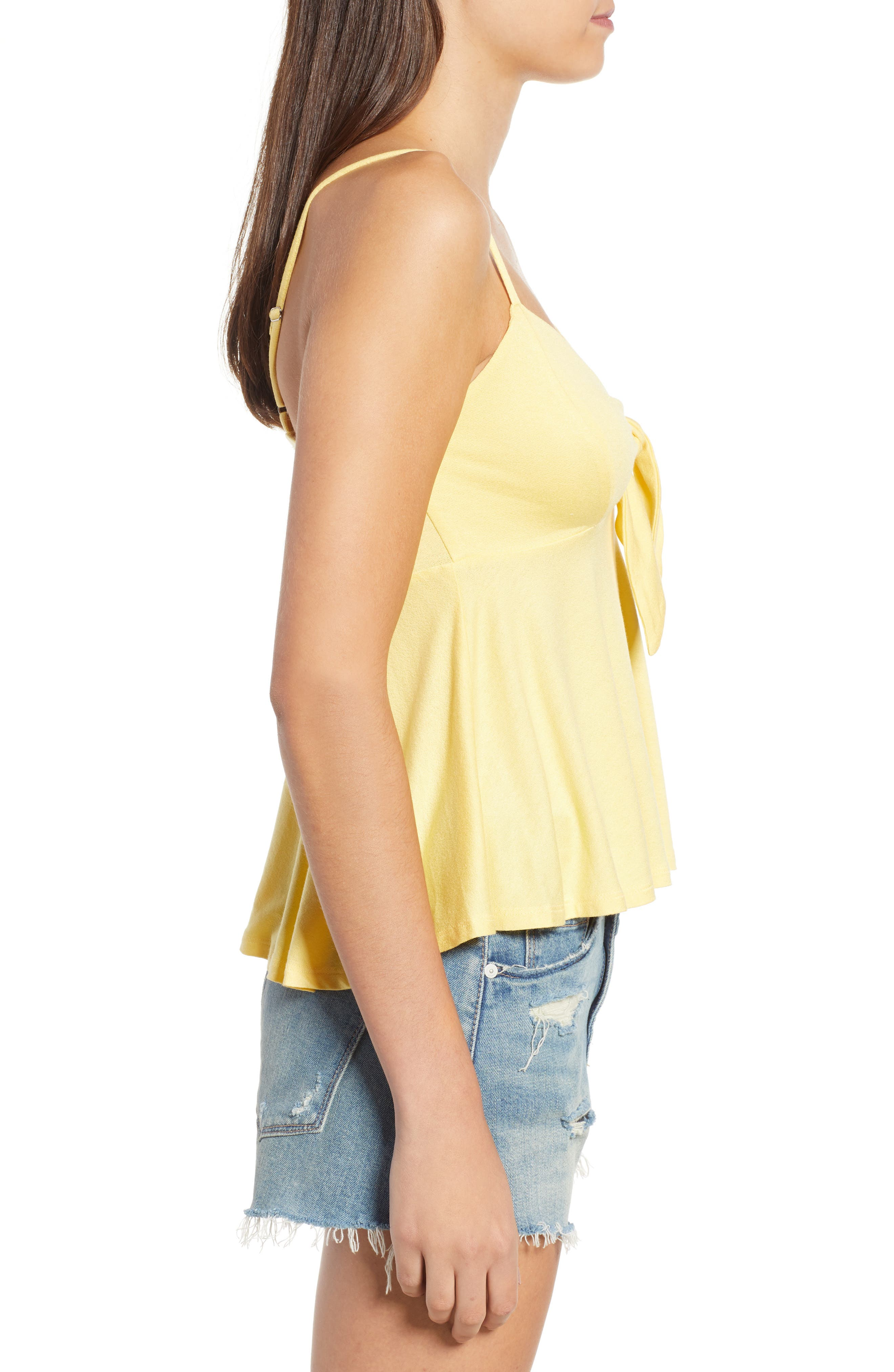 Knot Front Camisole,                             Alternate thumbnail 3, color,                             Yellow